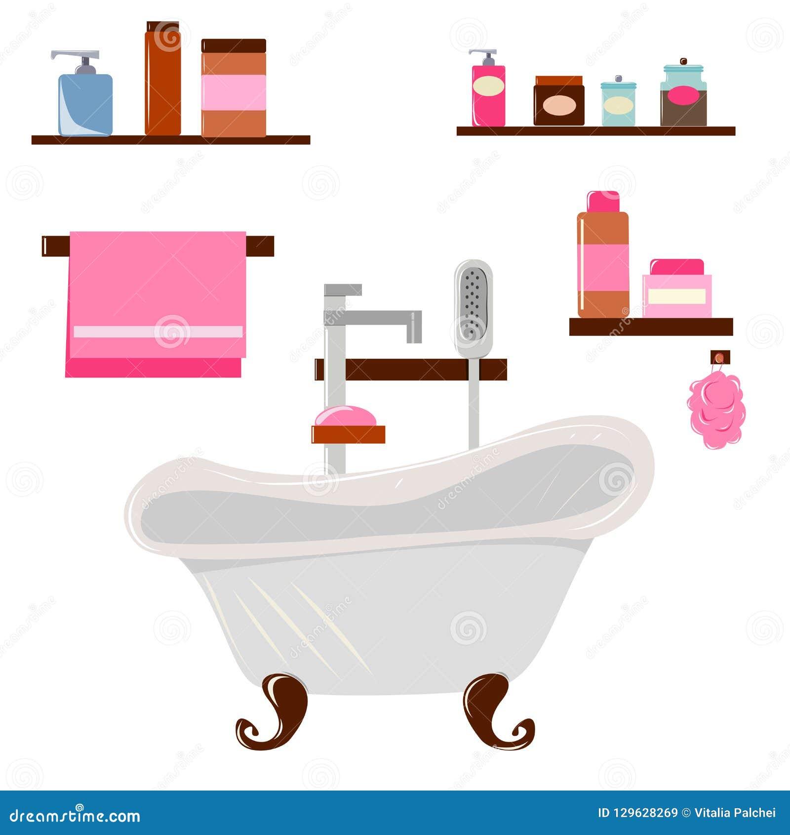 Grijs uitstekend bad, shampoo en roze handdoek