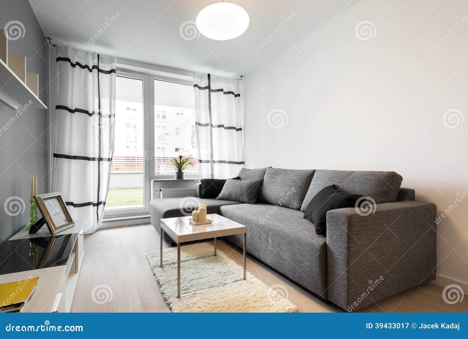Grijze bank in moderne woonkamer stock afbeelding Grijze woonkamer
