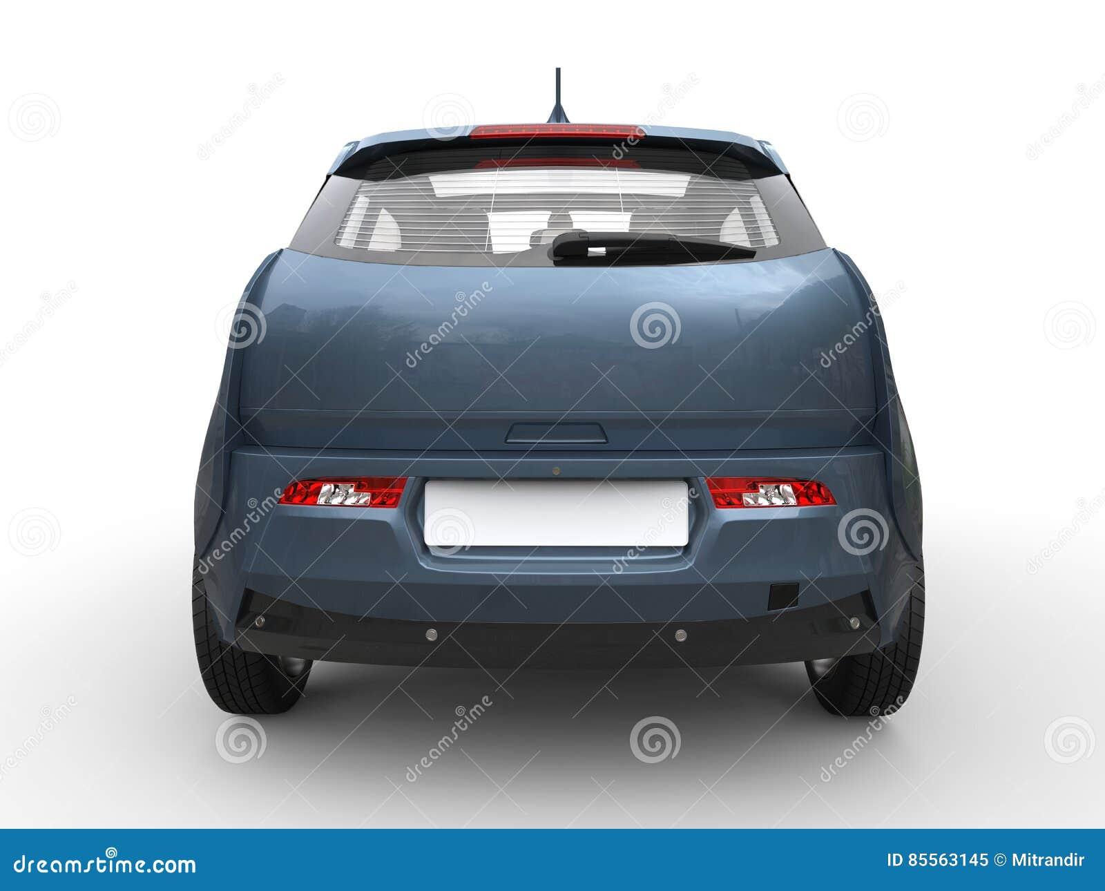 Grijze Blauwe Kleine Elektrische Auto Achtermening Stock