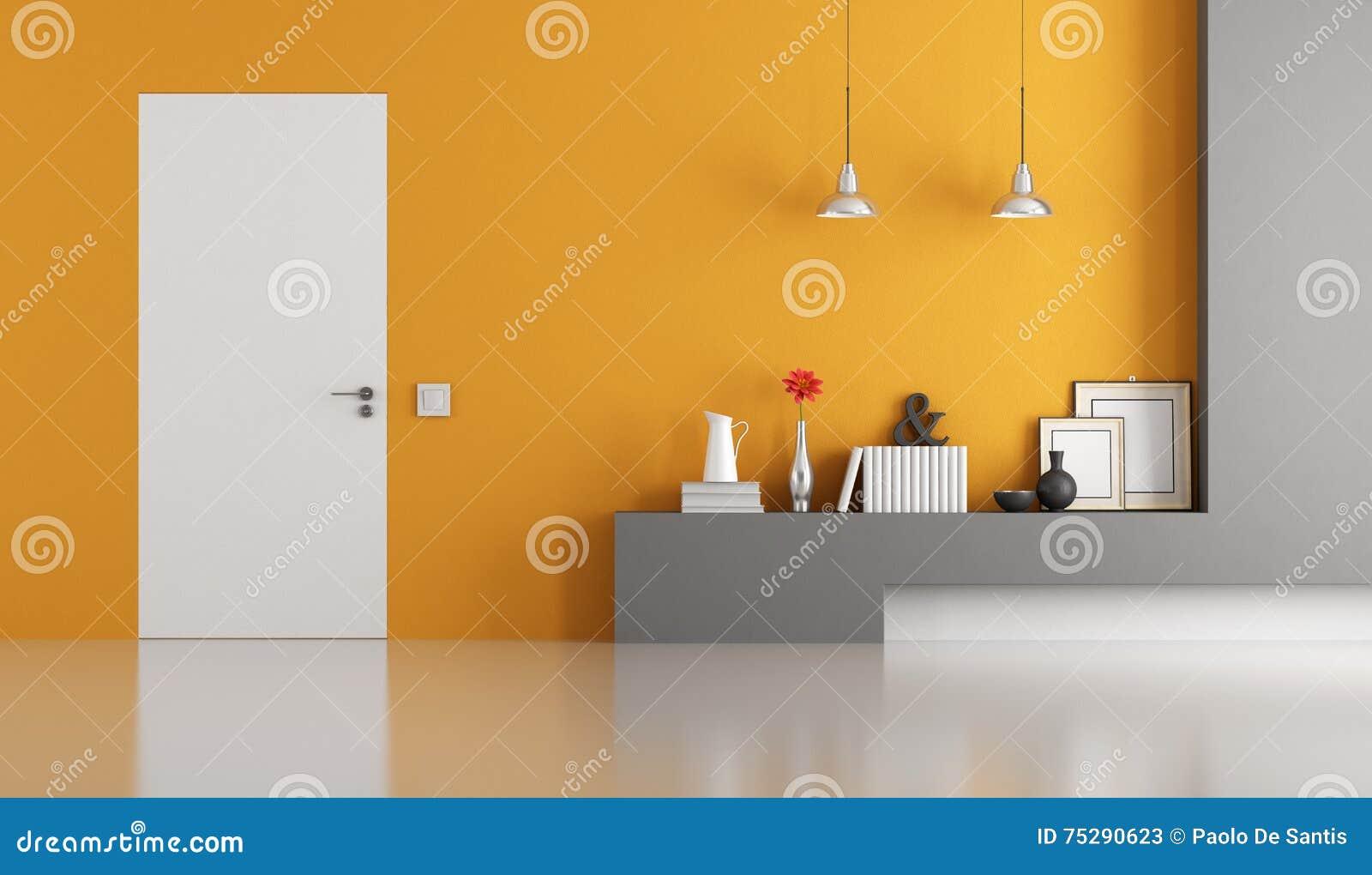 Grijze en oranje moderne woonkamer stock illustratie   afbeelding ...