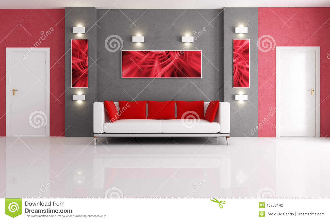 Woonkamer Rode Muur : Red and Gray Living Room