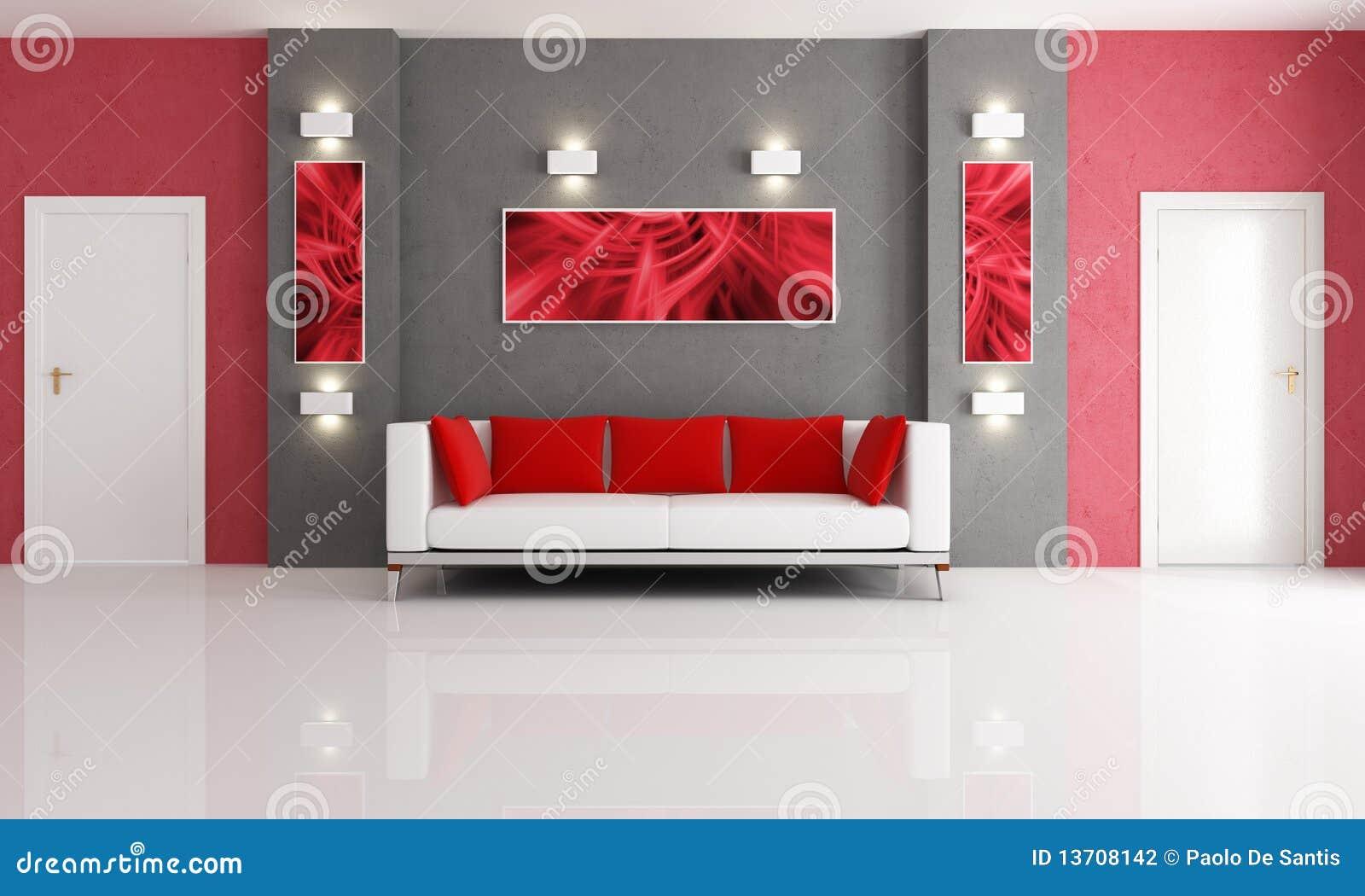 Grijze en rode woonkamer stock fotografie beeld 13708142 - Grijze en rode muur ...