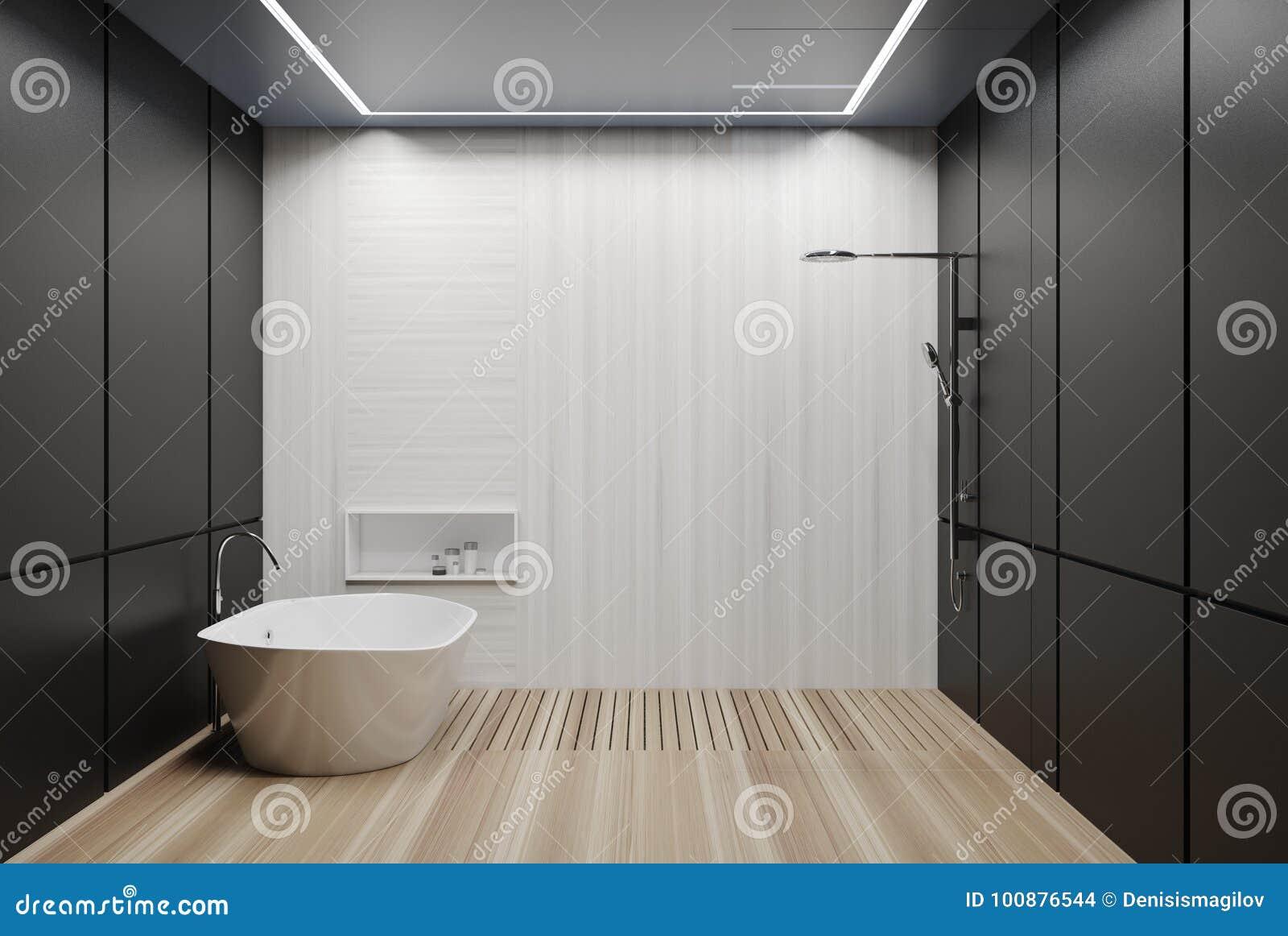 Grijze en witte betegelde badkamers ton en douche stock illustratie