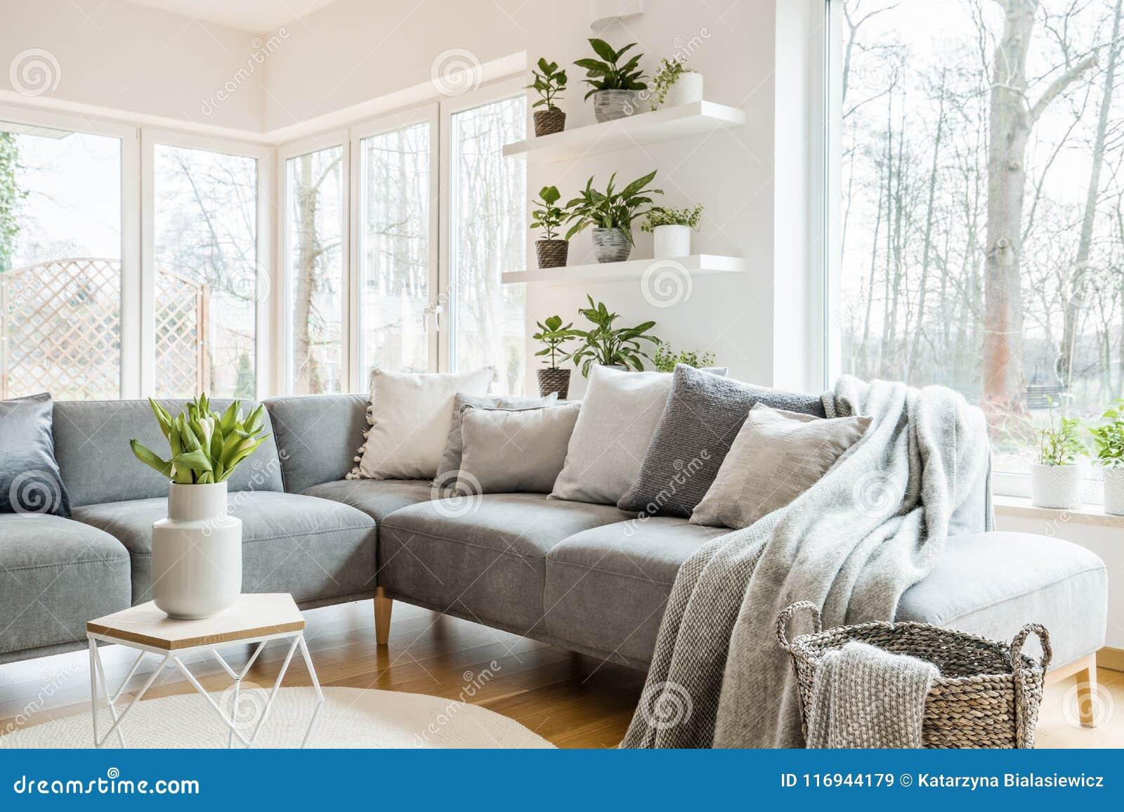 Grijze hoeklaag met hoofdkussens en dekens in witte woonkamer