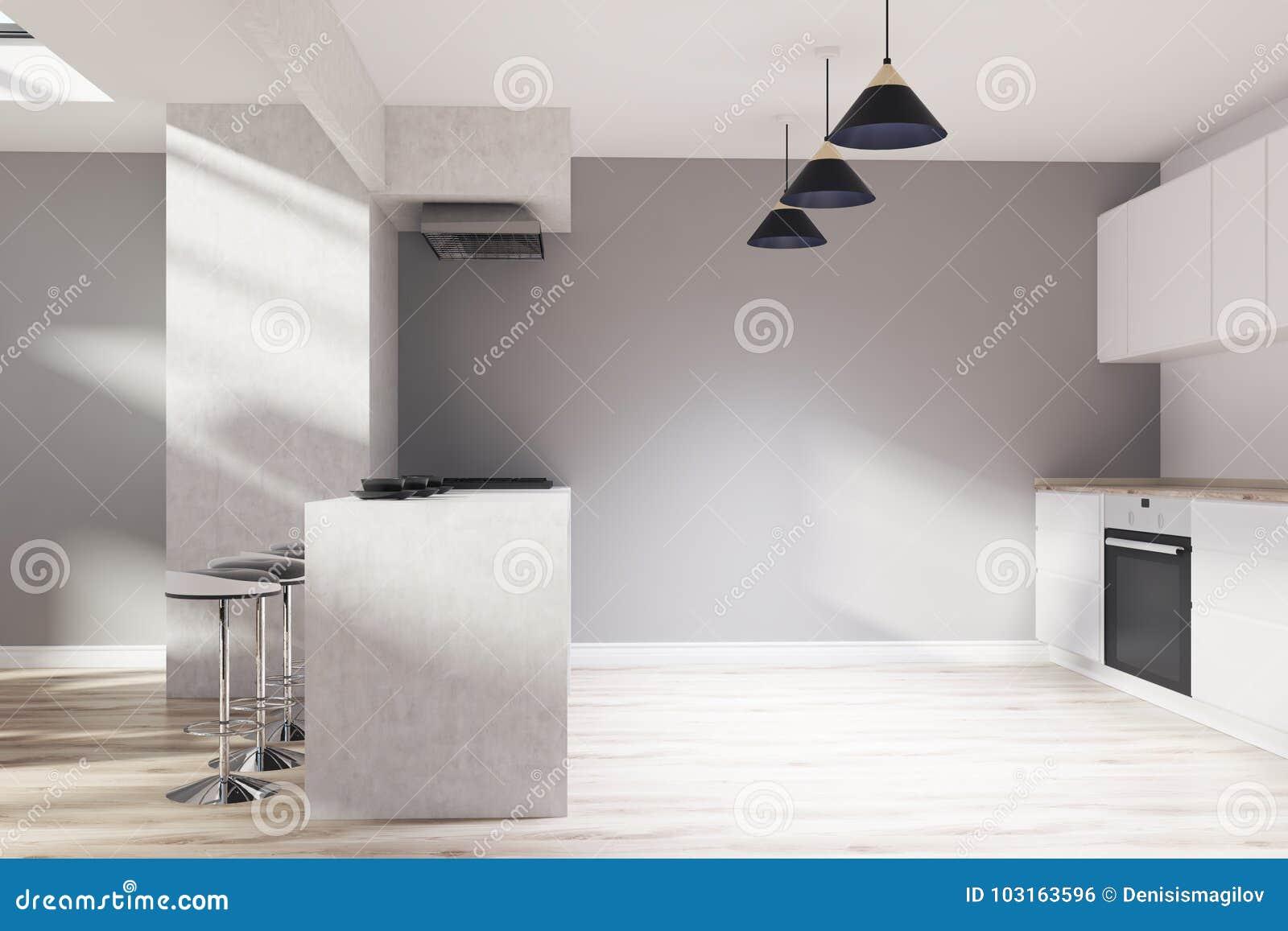 Grijze Houten Keuken : Grijze houten keuken bar stock illustratie illustratie