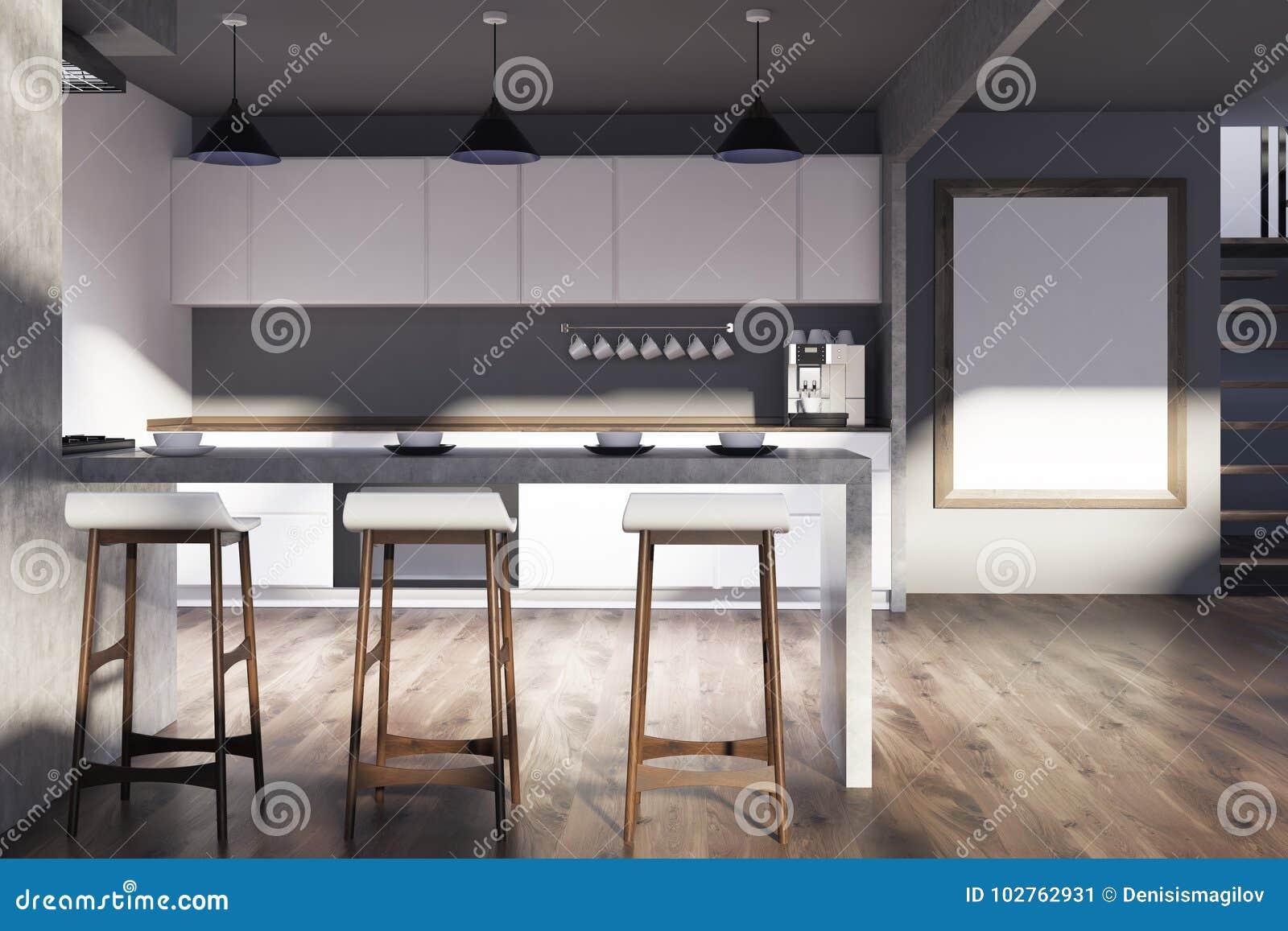 Grijze Houten Keuken : Grijze houten keuken bar affiche stock illustratie
