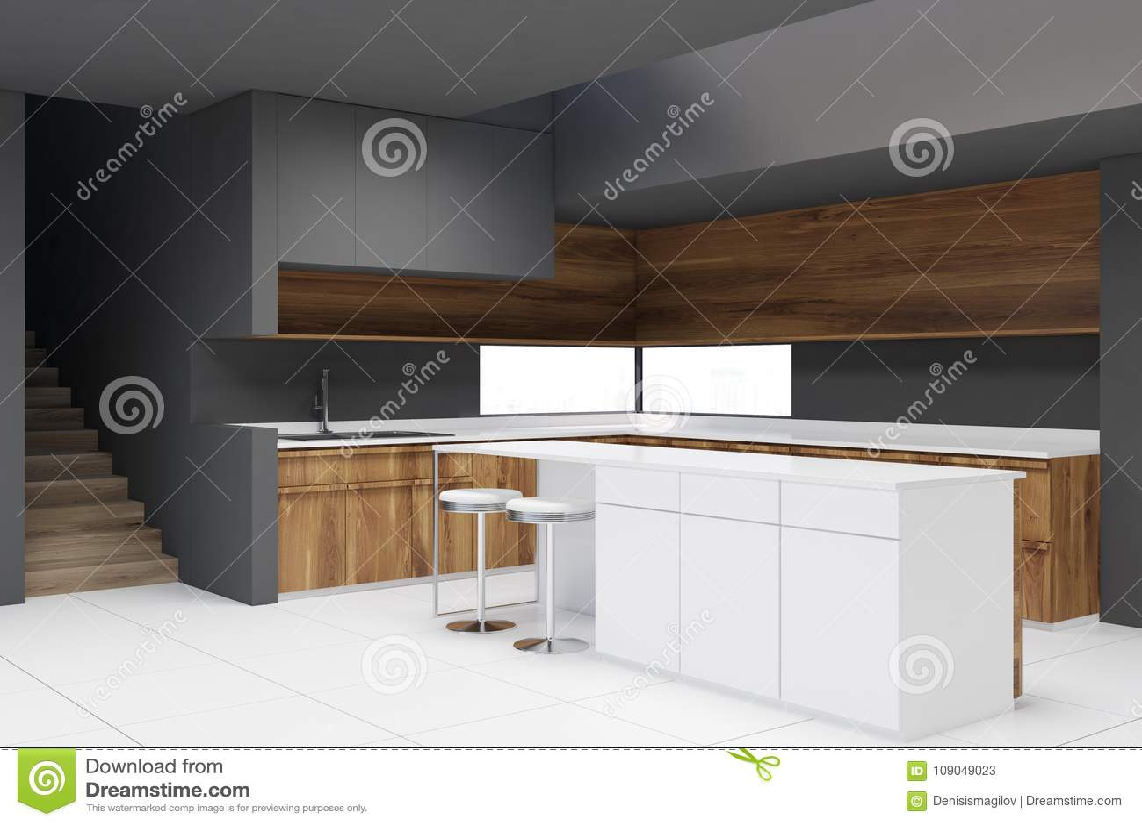 Keuken Houten Bar : Grijze keuken houten countertops bar stock illustratie