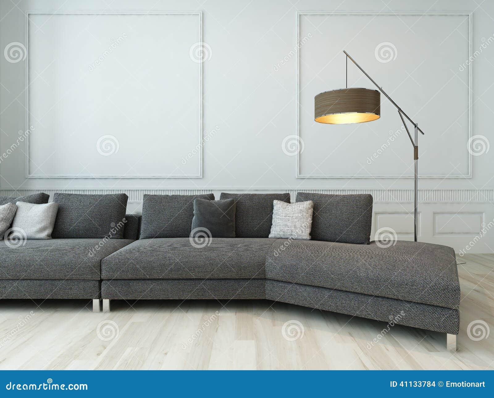Grijze laag en staande lamp tegen witte muur stock illustratie
