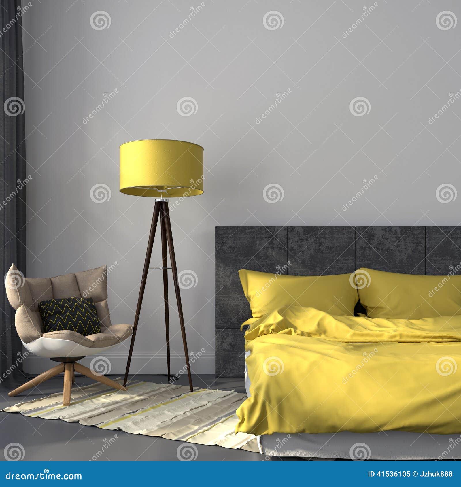 grijze slaapkamer en geel decor stock foto afbeelding 41536105
