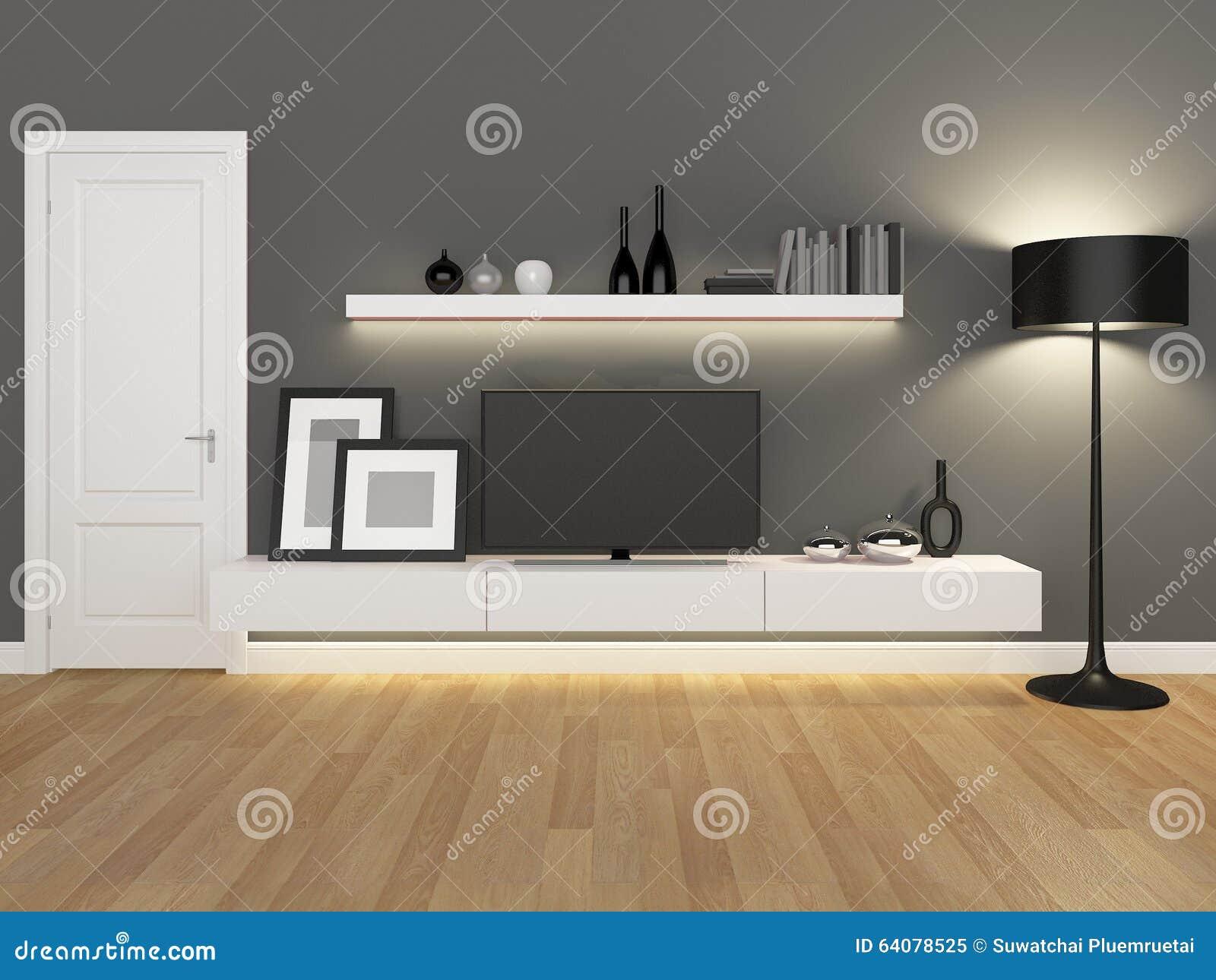 Grijs Laminaat Woonkamer : Grijze woonkamer met de tribune en de boekenkast van tv stock