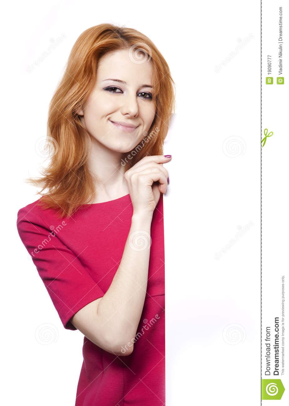 Gril In Red Dress Looking From Corner Royalty Free Stock