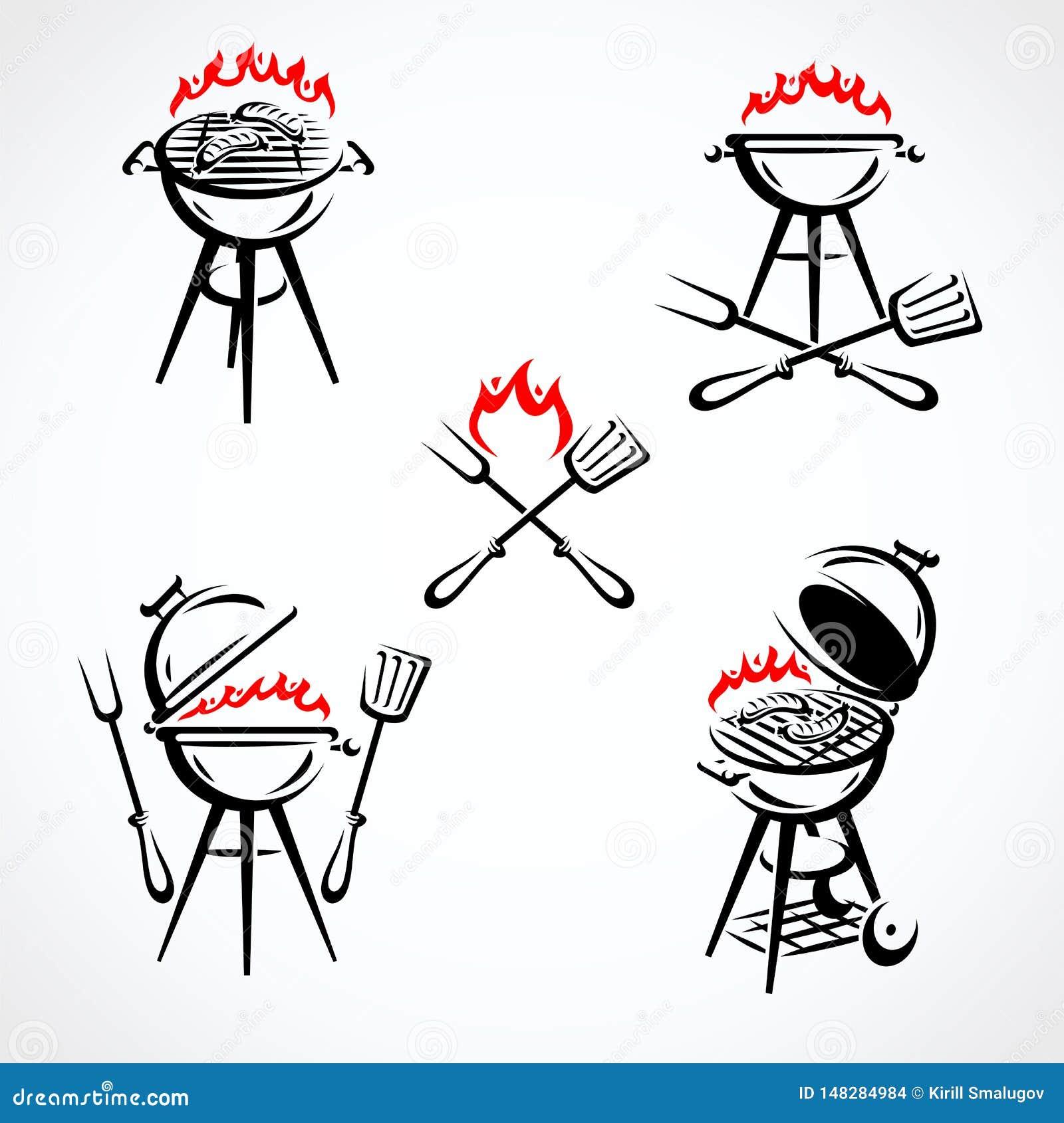 Grillów elementy i Inkasowy ikona grill wektor