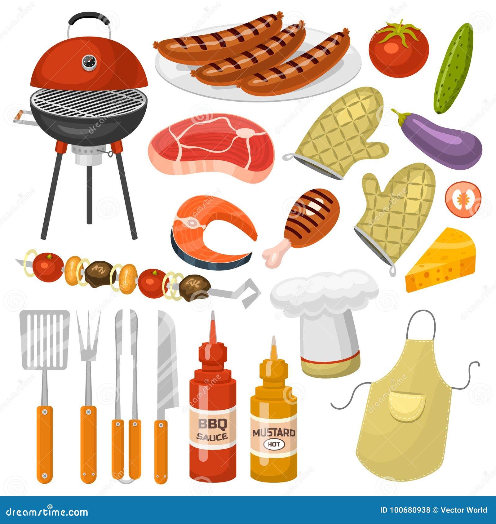Grillów produktów BBQ opieczenia czasu partyjnej kuchennej plenerowej rodzinnej kuchni wektorowe ikony ilustracyjne