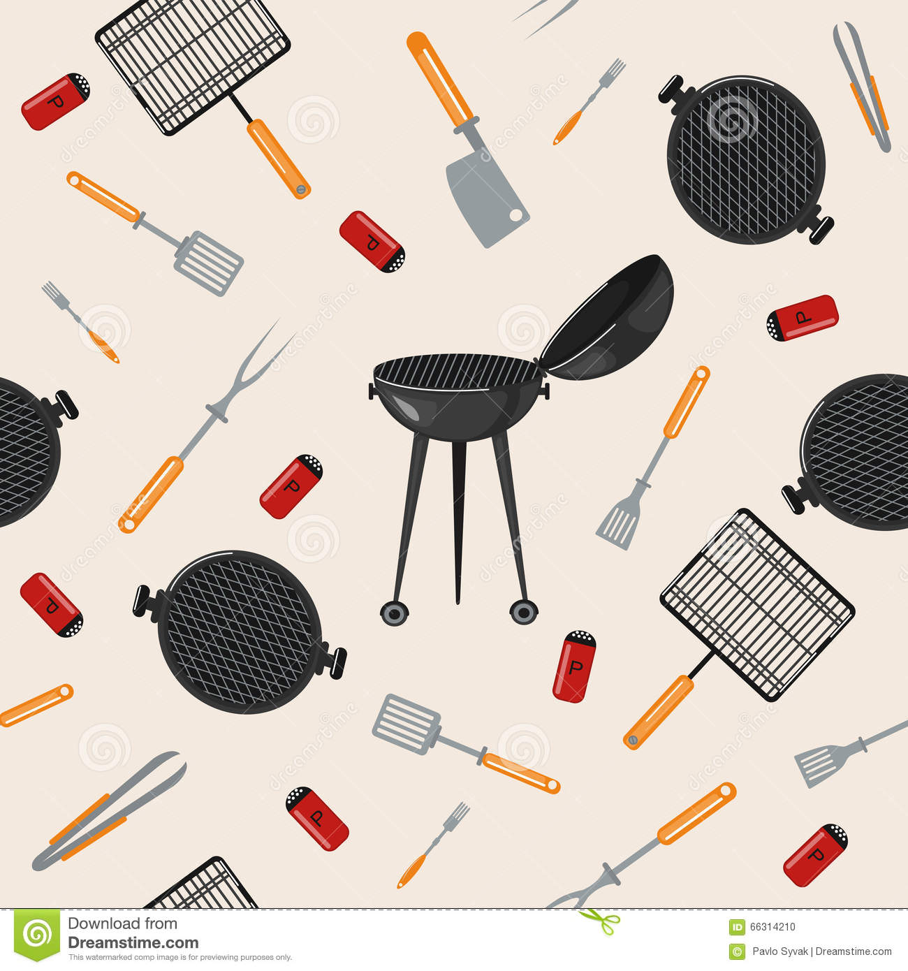 Grill Barbecue Seamless Pattern With Kitchen Tools Stock Vector Image 66314210