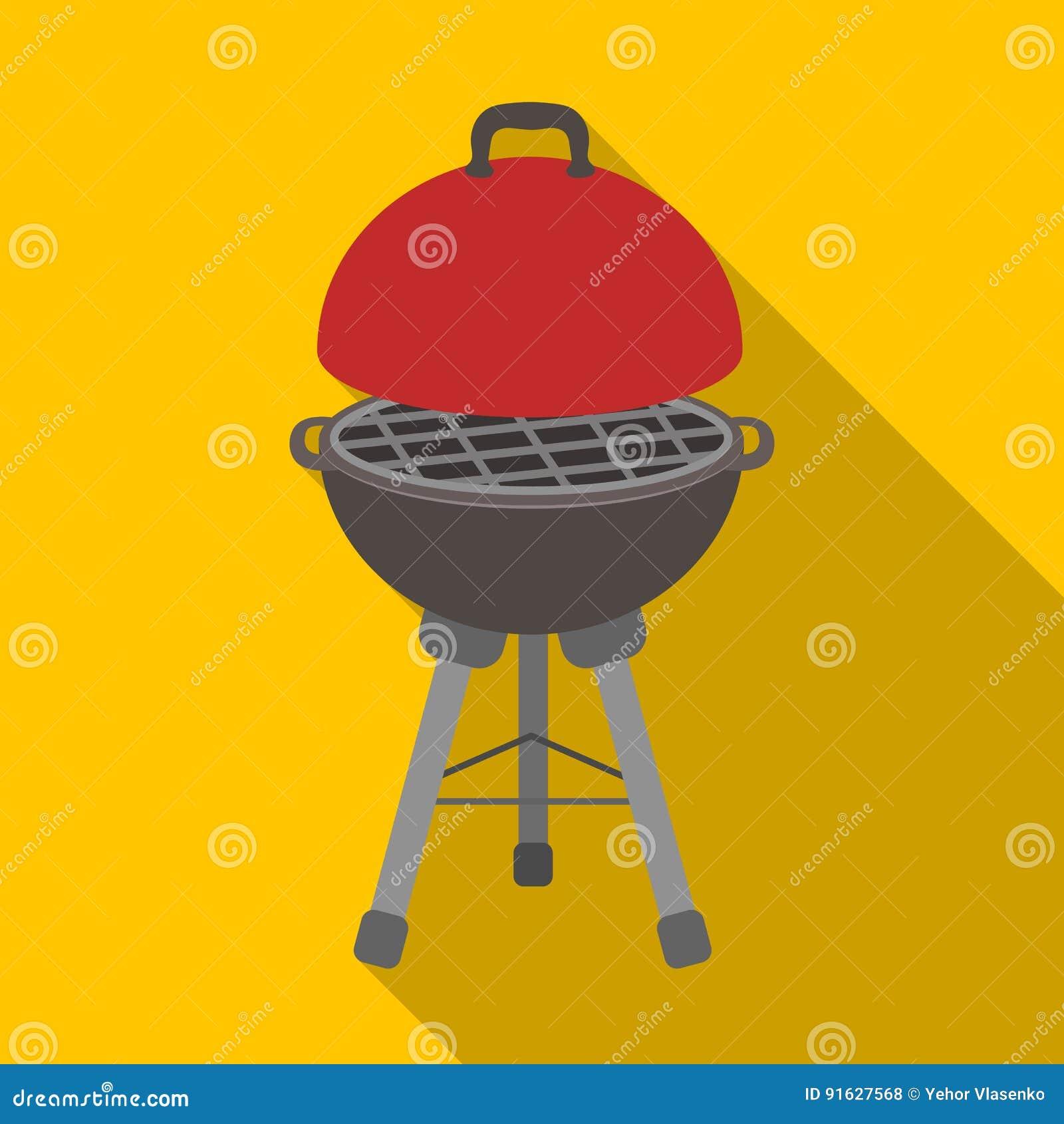 Grill dla grilla BBQ pojedyncza ikona w mieszkanie stylu symbolu zapasu ilustraci wektorowej sieci