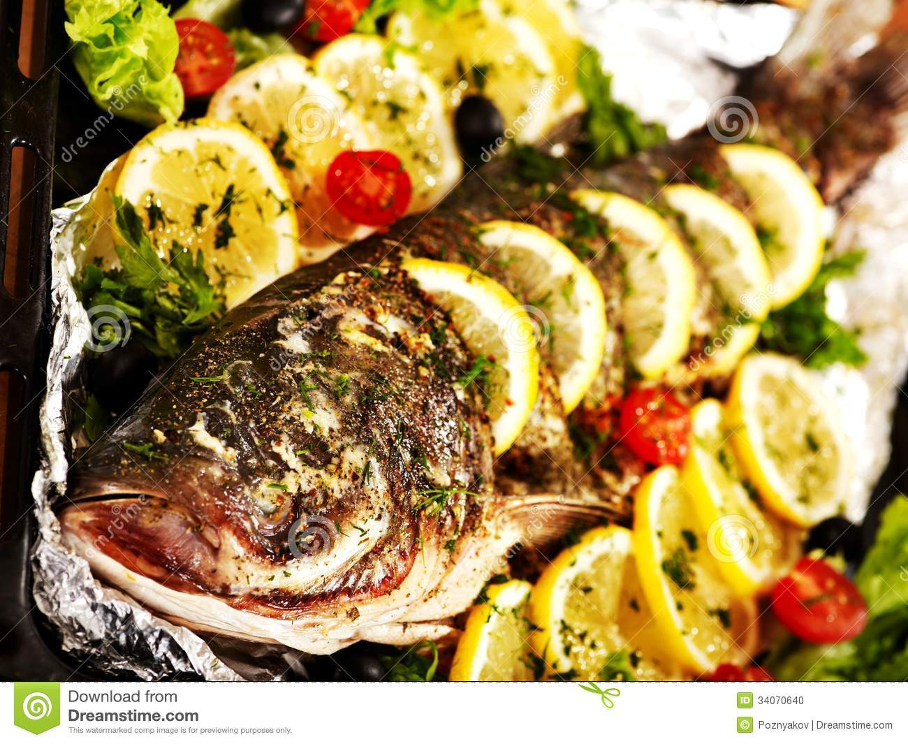 Grill fish at oven tray stock photo image of fish for Fish in oven