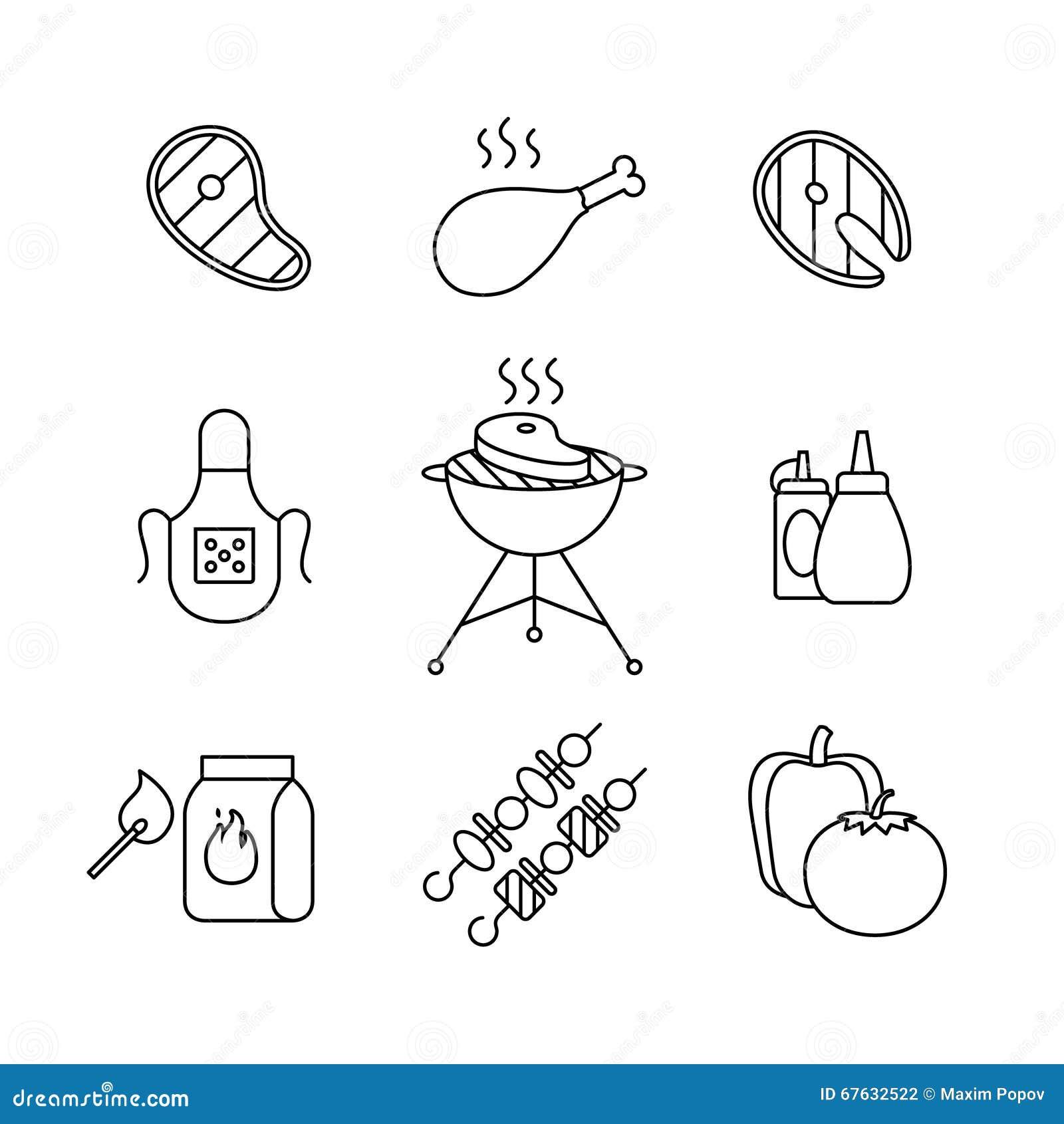 Grill, Fleisch im Freien und Fischsteak grillen