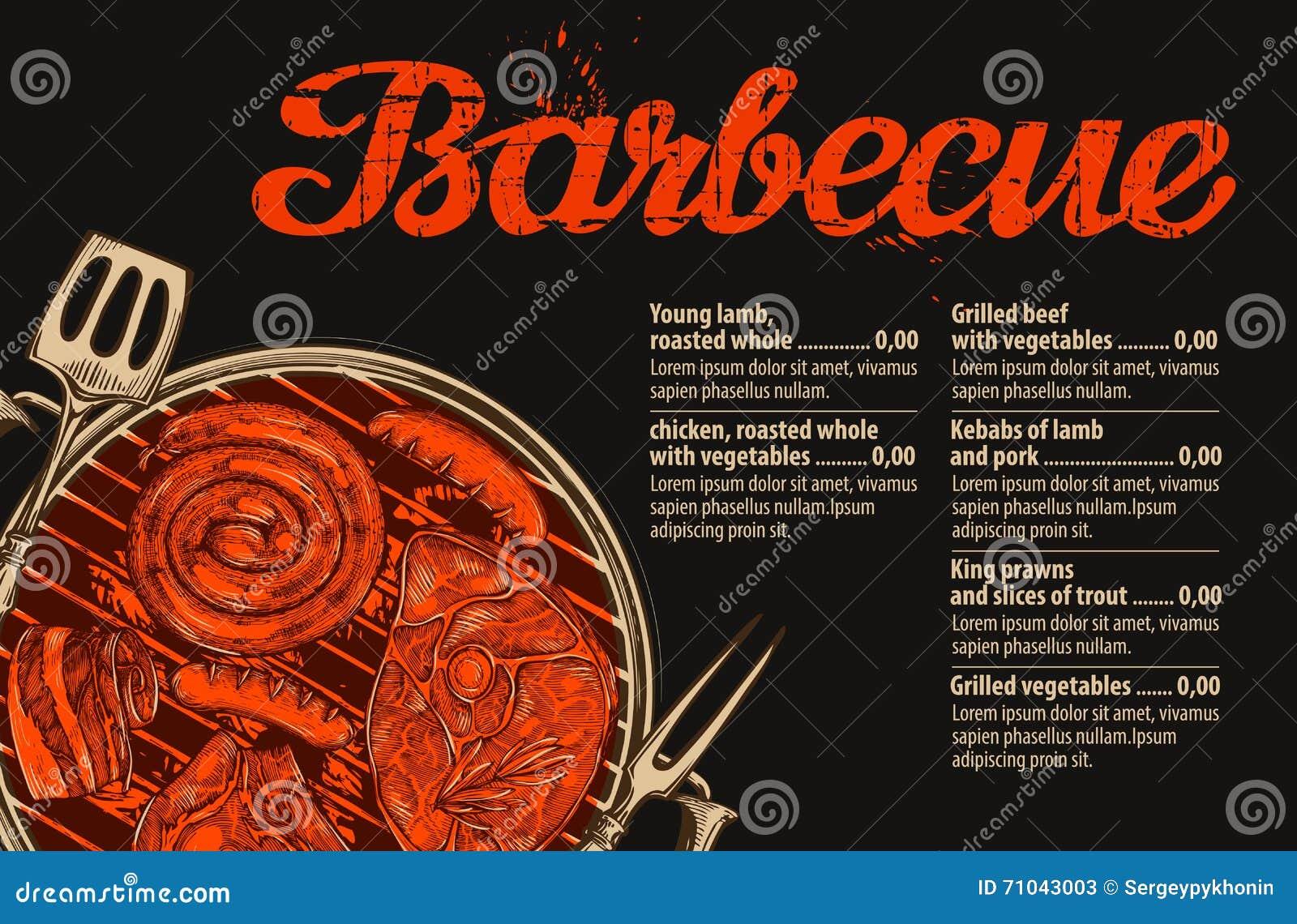 Grill, grill Wektorowy szablon menu projekt dla restauraci, kawiarnia Ręka rysujący nakreślenia jedzenie, mięso