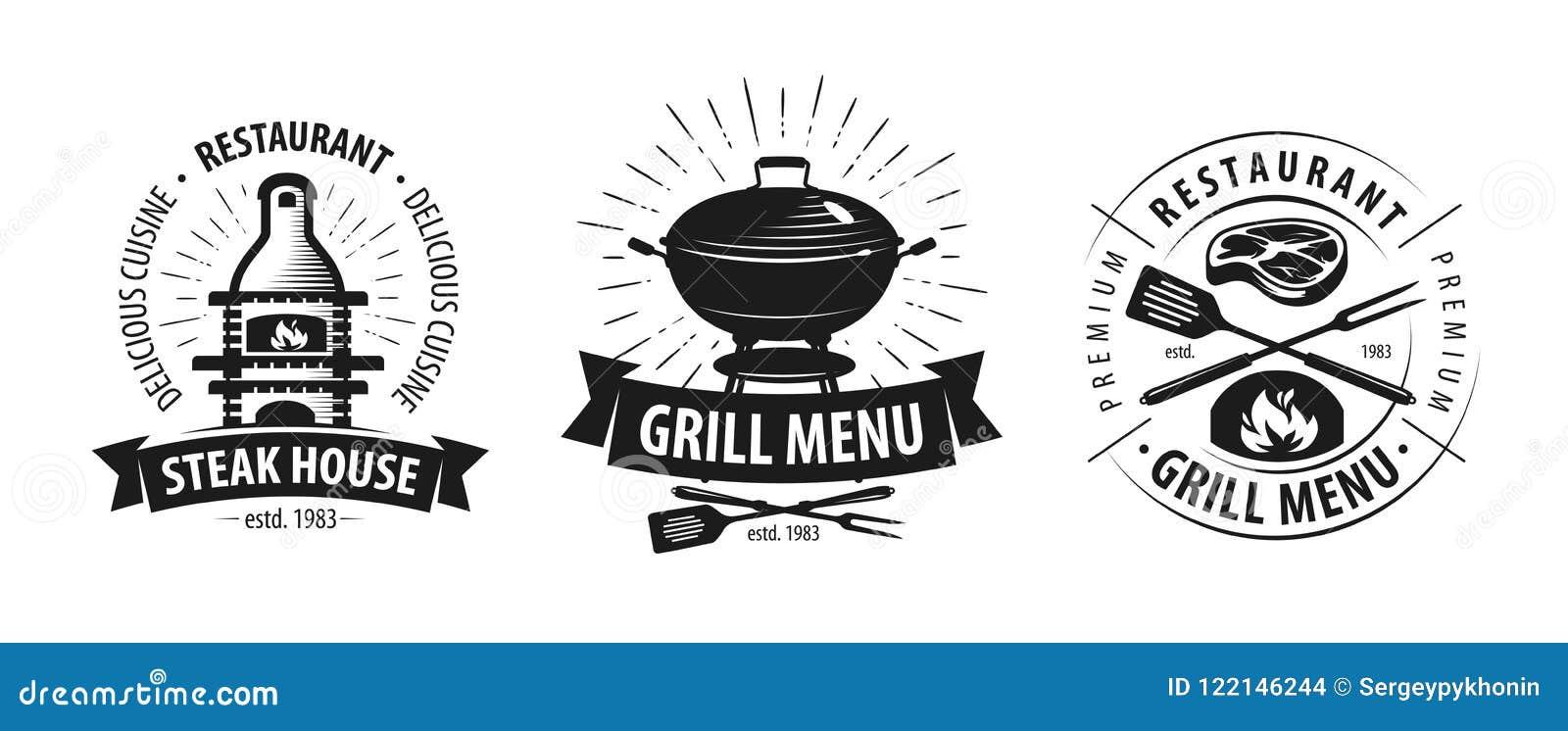 Grill, grilla logo lub etykietka, BBQ, kebabu emblemat również zwrócić corel ilustracji wektora