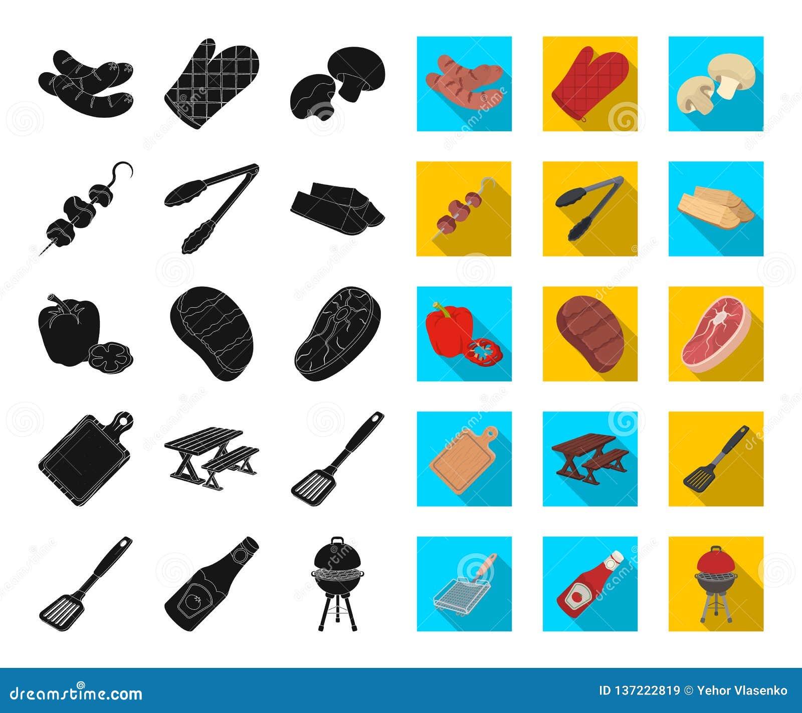 Grill i wyposażenie czernimy, płaskie ikony w ustalonej kolekcji dla projekta Pykniczna i smażąca karmowa wektorowa symbolu zapas