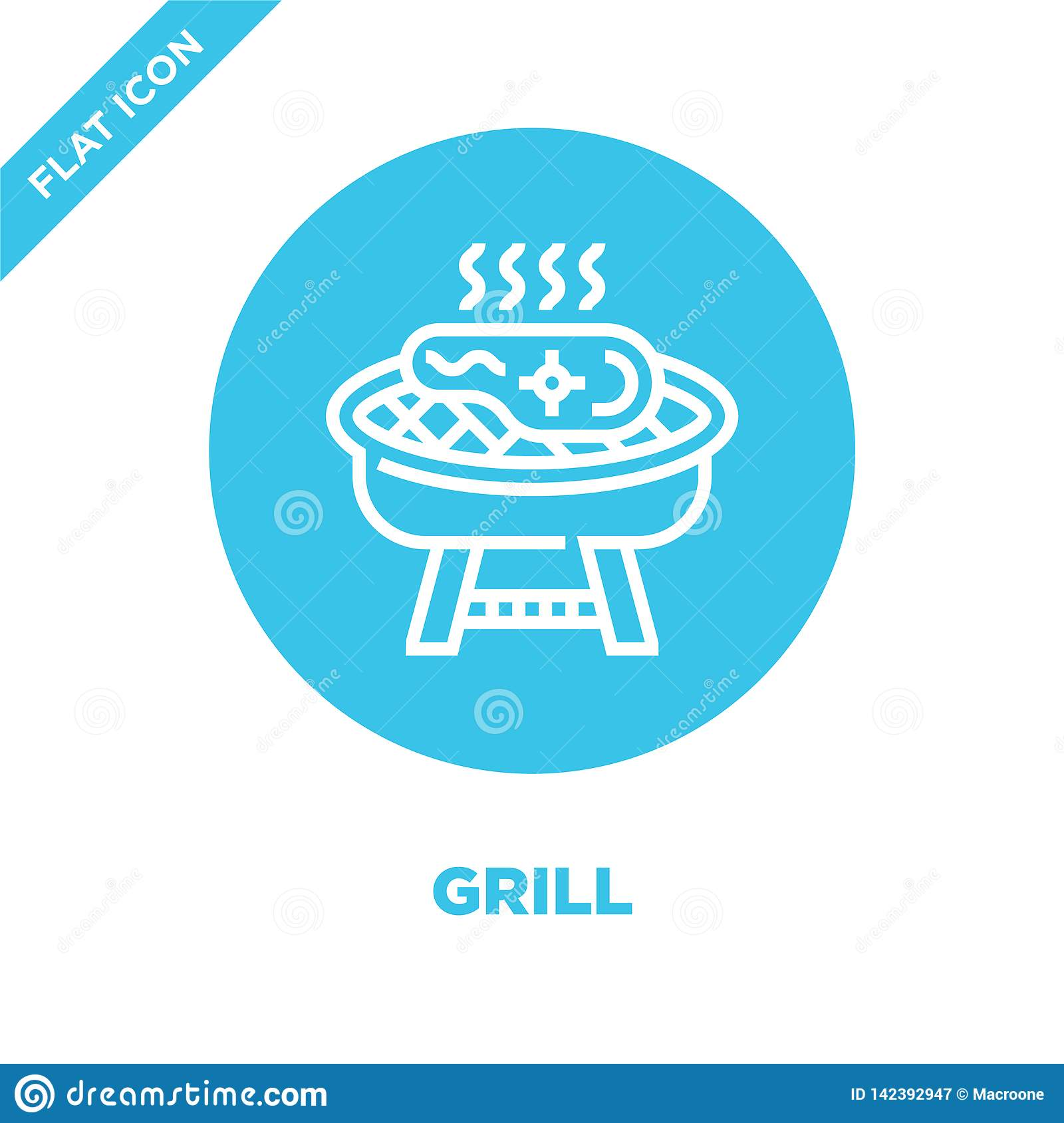 grill icon vector from bbq and grill collection. Thin line grill outline icon vector  illustration. Linear symbol for use on web
