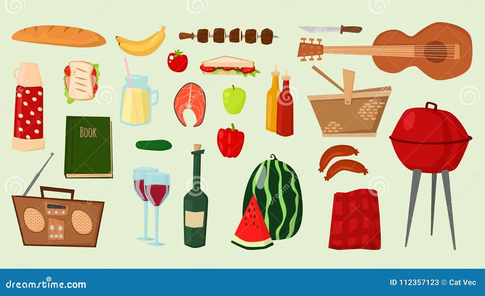 Grill ikon artykułów żywnościowy BBQ wektorowego opieczenia czasu kuchni ilustraci przyjęcia kuchenni plenerowi rodzinni produkty