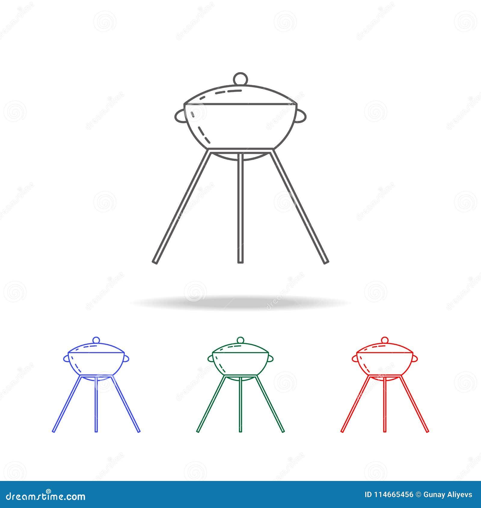 Grill-Ikone Elemente von kampierenden multi farbigen Ikonen Erstklassige Qualitätsgrafikdesignikone Einfache Ikone für Website, W