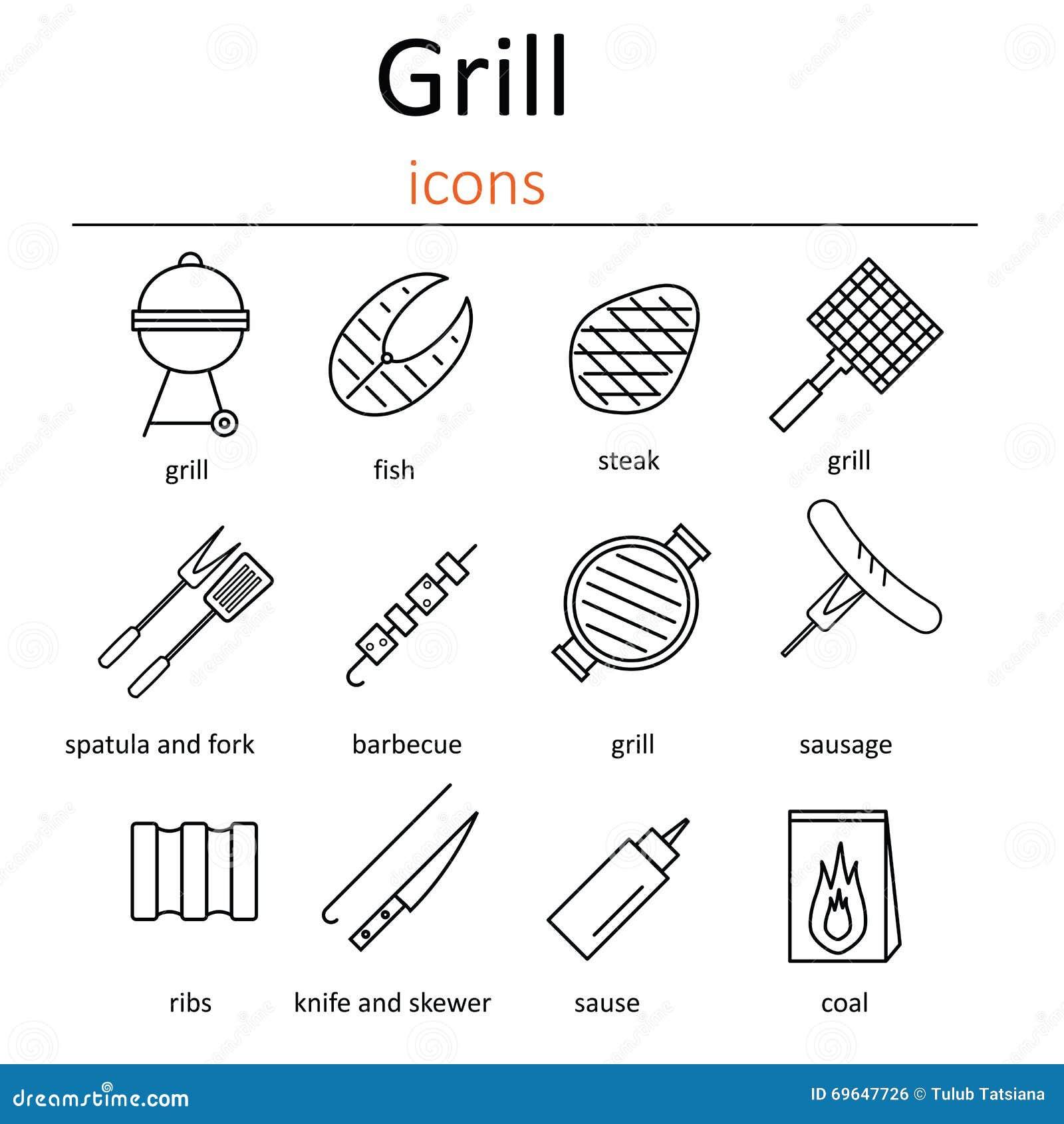 Grill ikony Ikony piec na grillu akcesoria Piekarnika grill, grillów akcesoria i produkty,