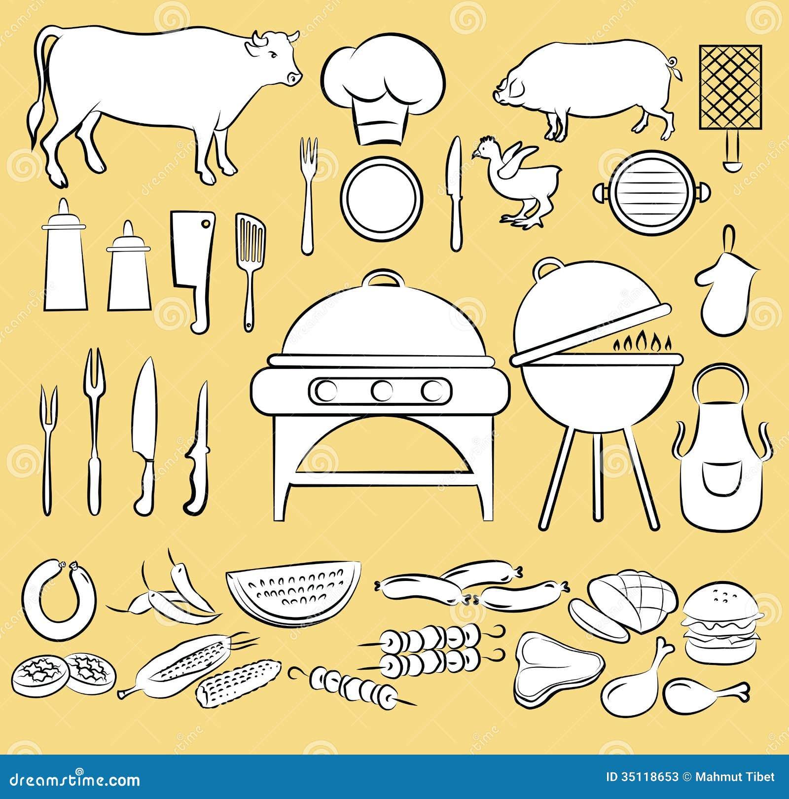 Grill ikony set