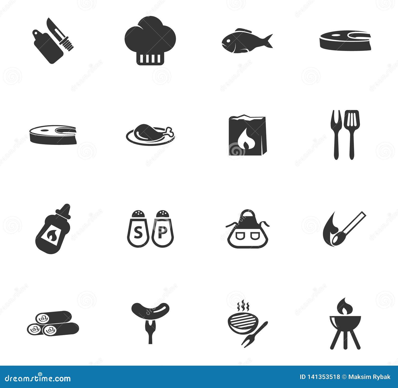 Grill ikony ustawiać
