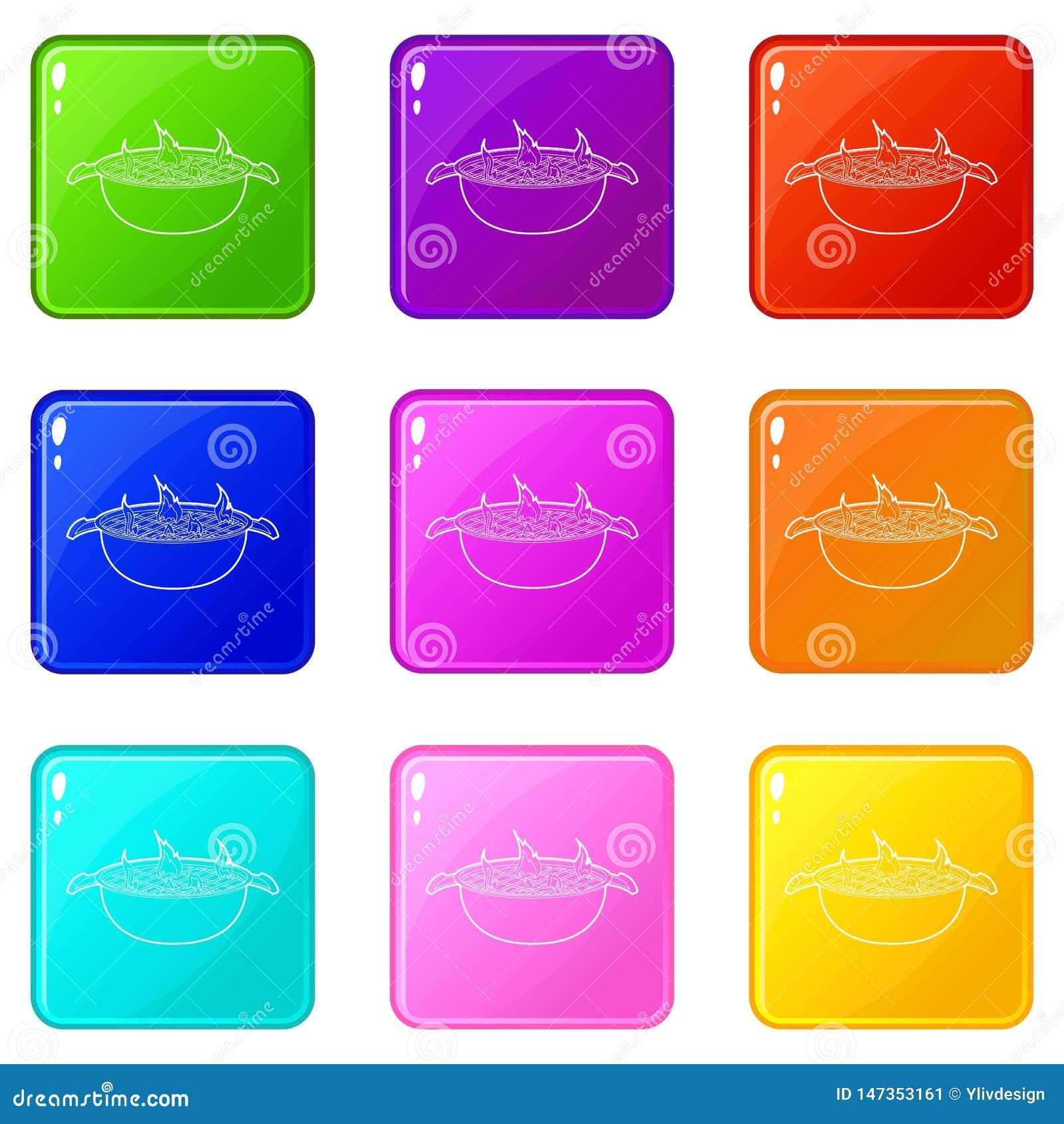 Grill ikony ustawiają 9 kolorów kolekcję
