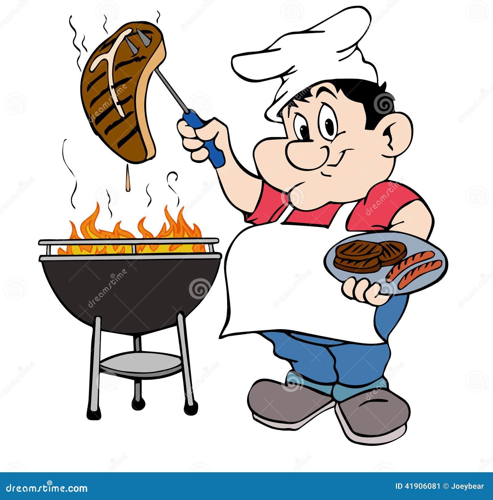 Grill-Kerl stock abbildung. Illustration von clip, flammen ...