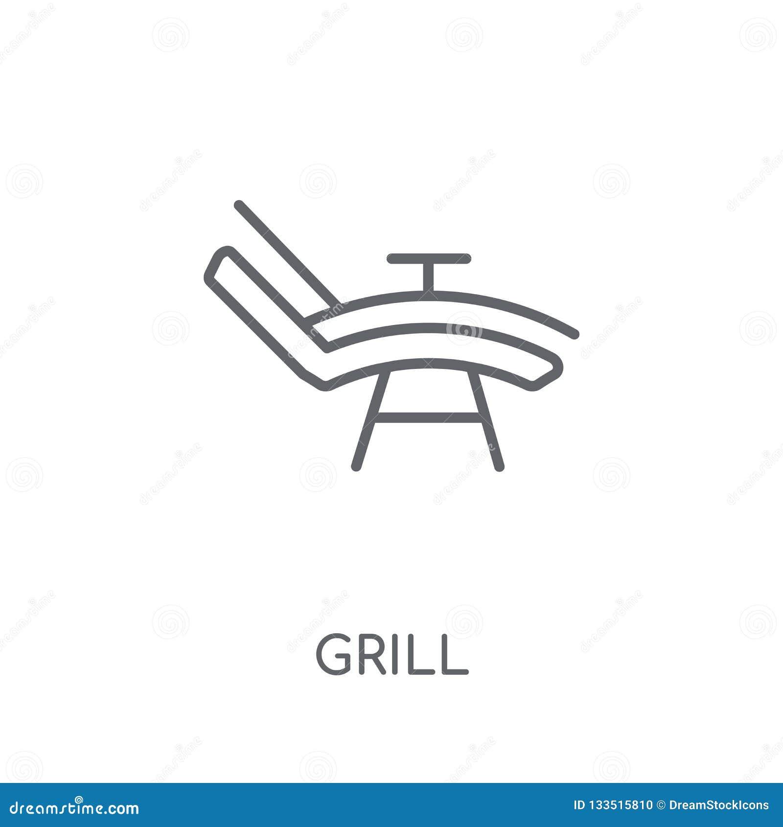 Grill liniowa ikona Nowożytny konturu grilla logo pojęcie na białych półdupkach