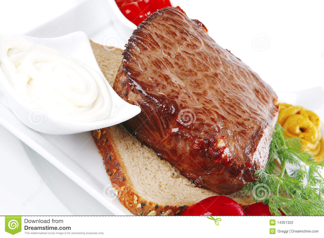 Grill Meat On Bread Stock Photography - Image: 14351322