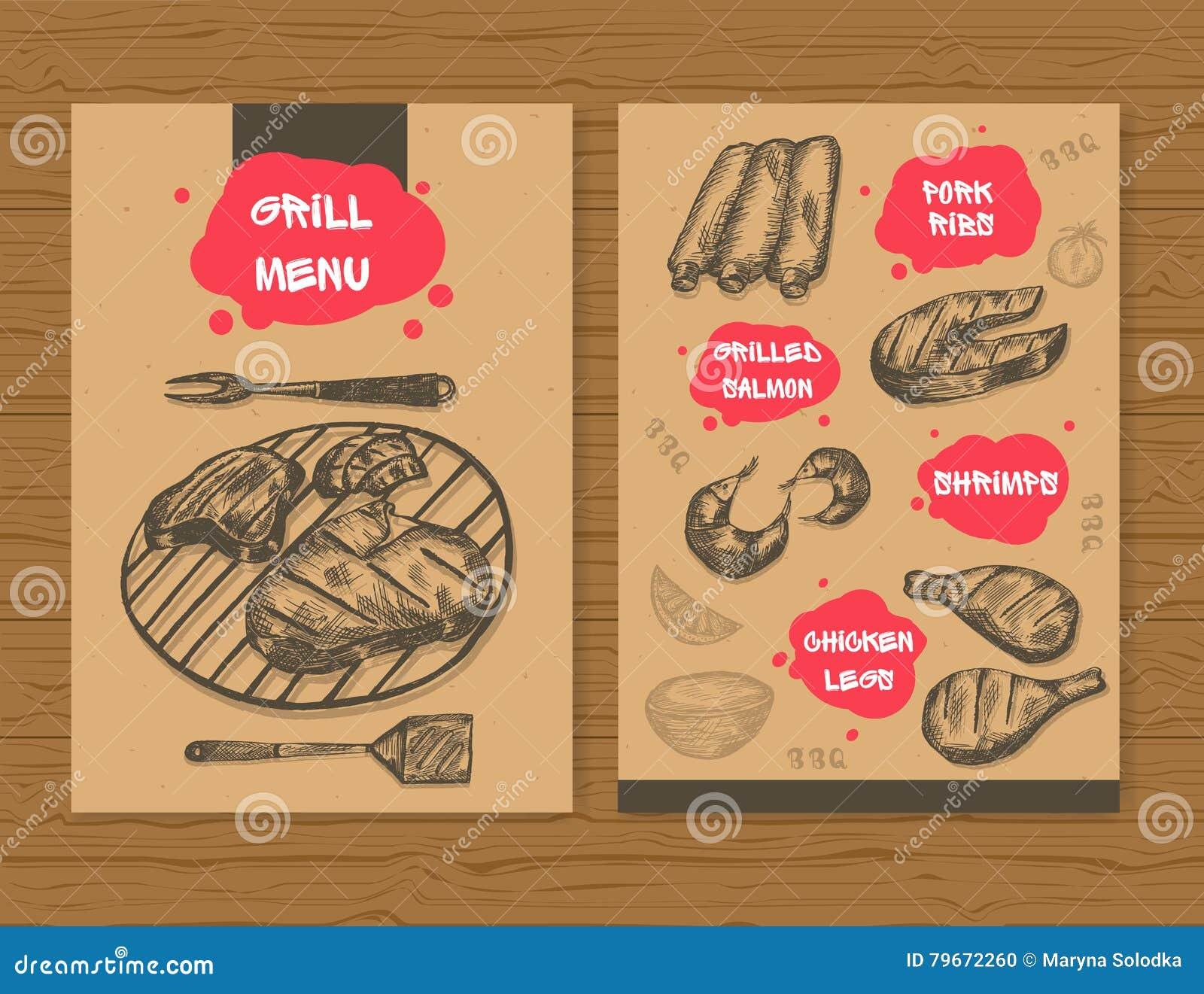 Grill Menu Template Ready Design Bbq Menu For Restaurant Bar Etc