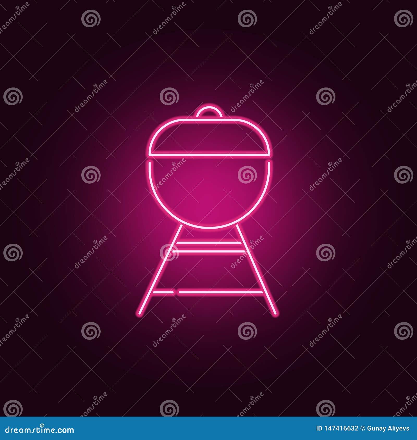 Grill neonowa ikona Elementy kuchnia set Prosta ikona dla stron internetowych, sie? projekt, mobilny app, ewidencyjne grafika