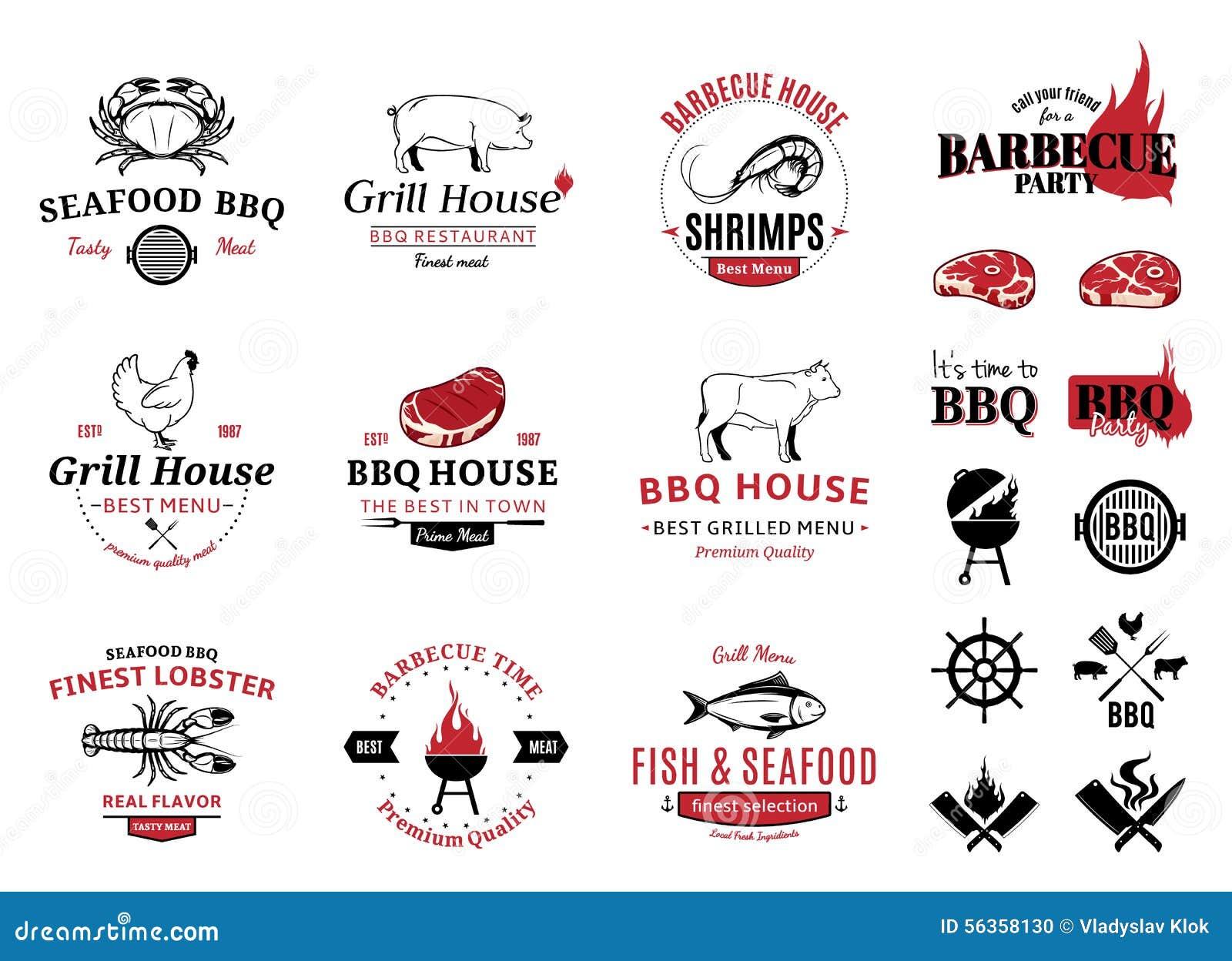 Grill, owoców morza logowie, etykietki i projektów elementy,