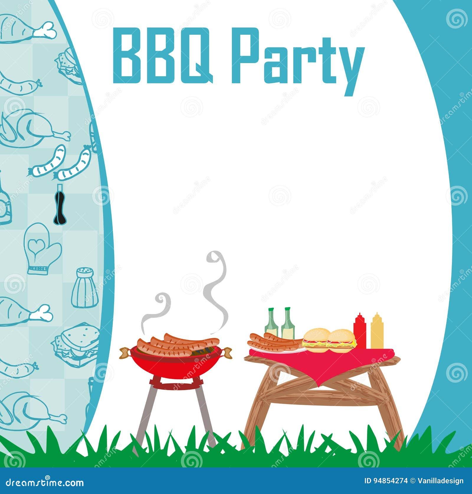 Grill-Parteimenü-Karte Einladung