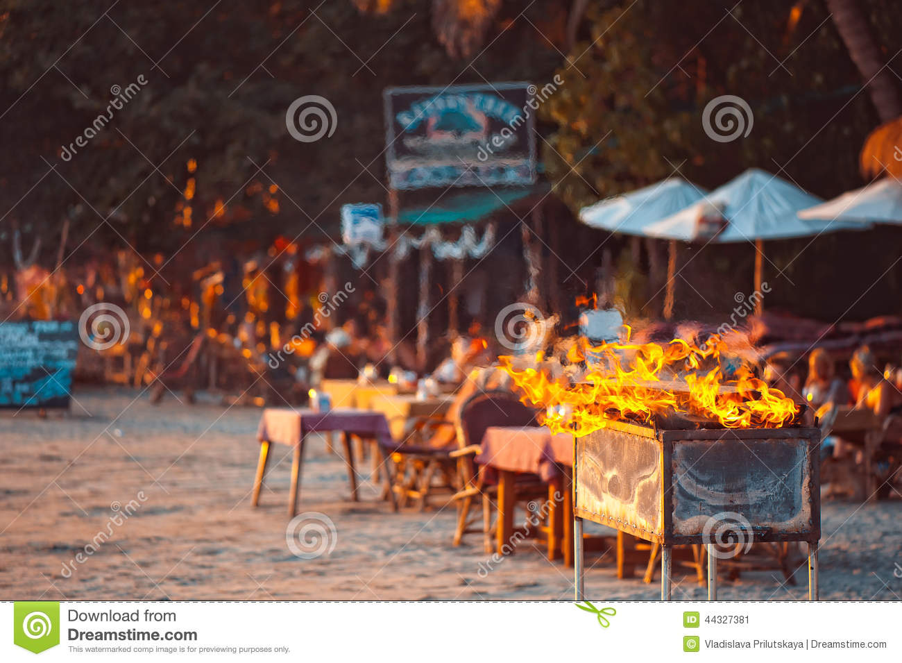 A grill party on the tropical beach in Goa, India