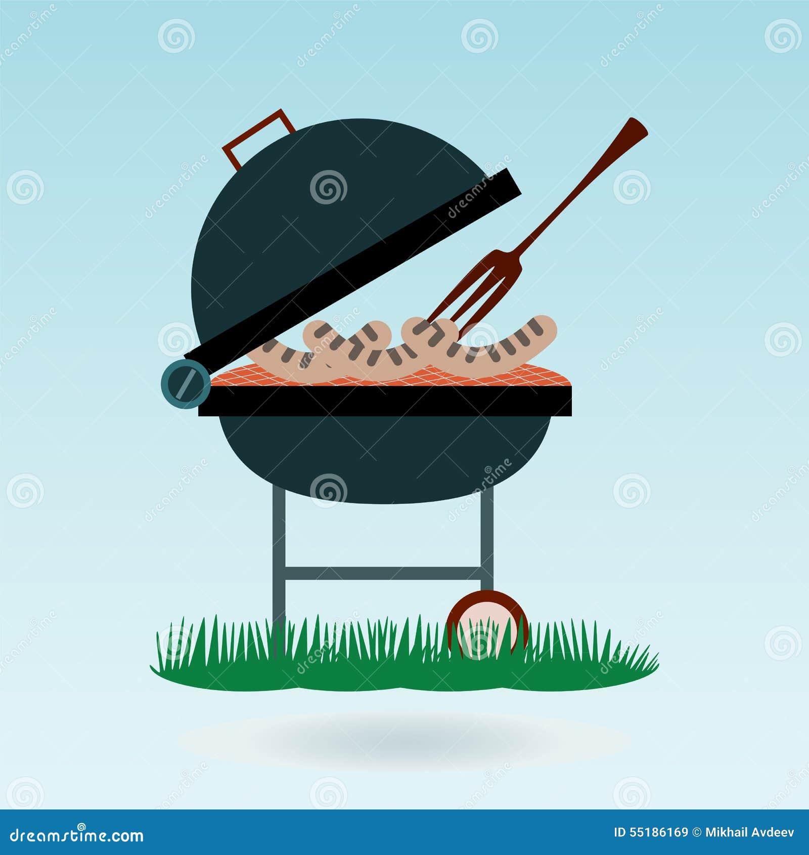 Grill Piec na grillu kiełbasy na rozwidleniach