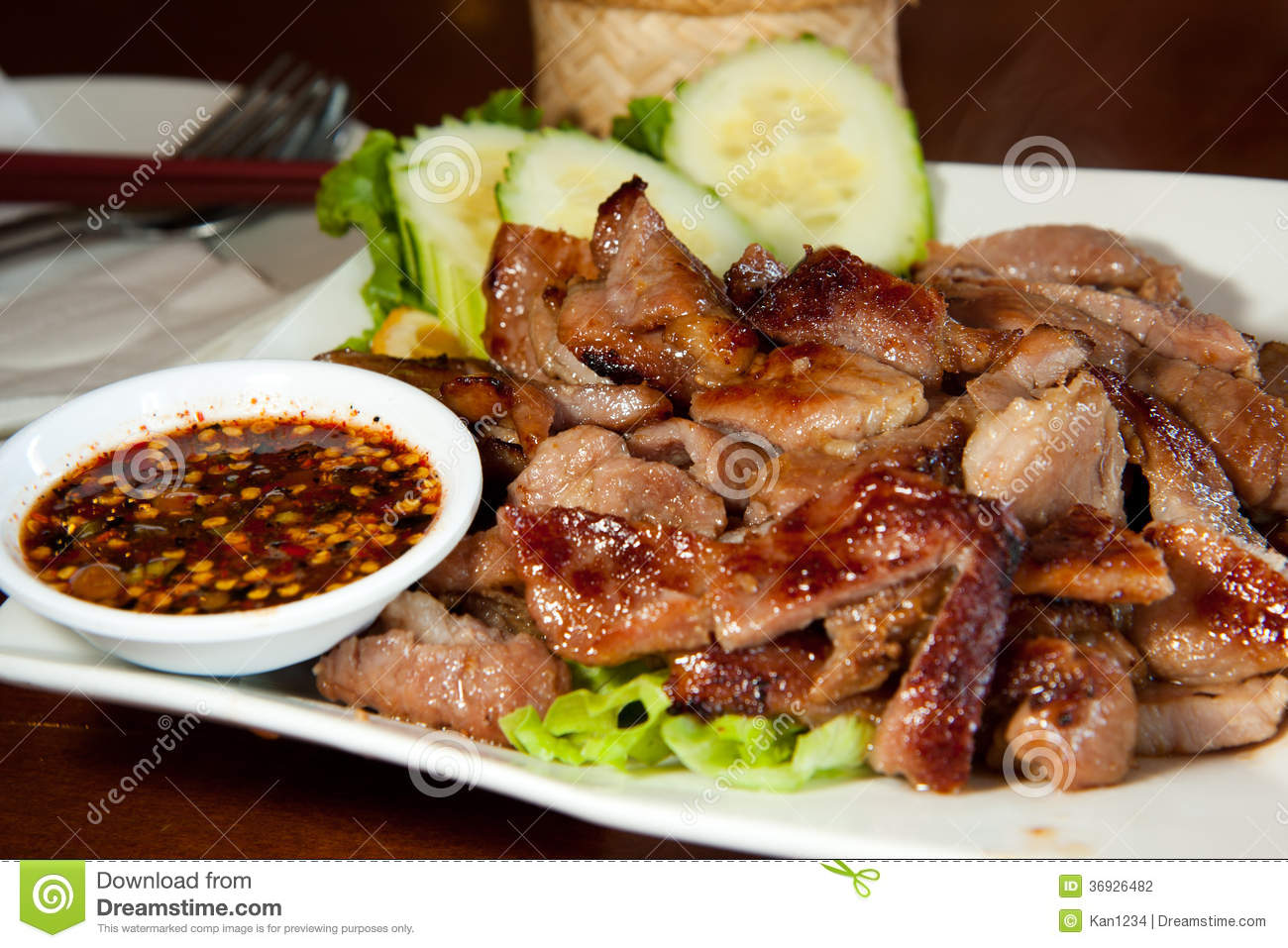 Grill Pork Neck Thai Style Stock Photography - Image: 36926482