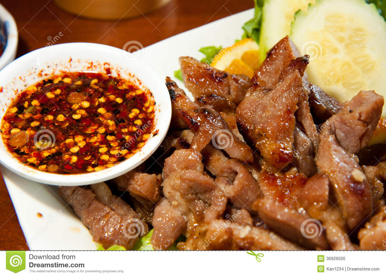 Grill Pork Neck Thai Style Stock Photo - Image: 36926500