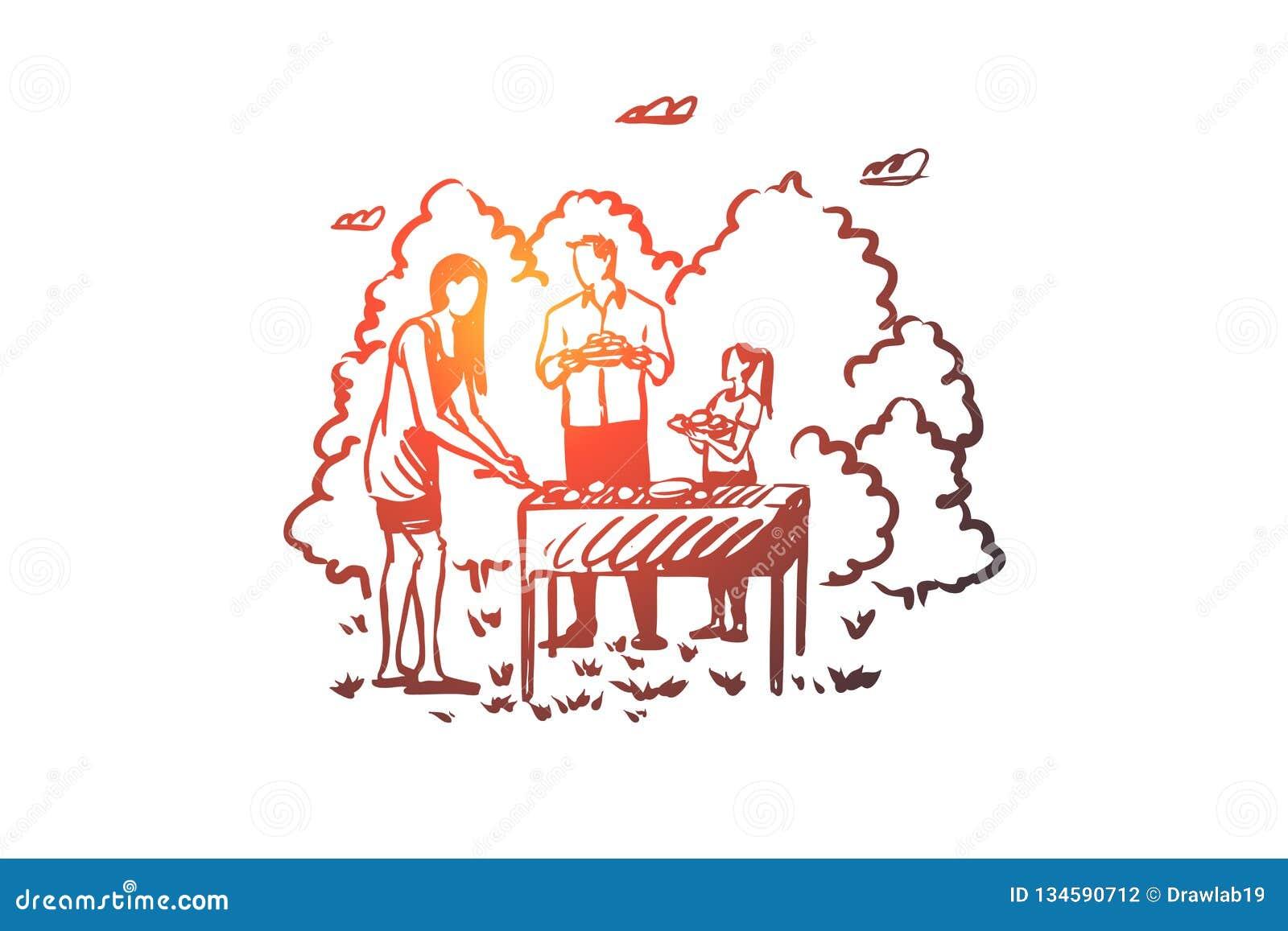 Grill, rodzina, grill, bbq, karmowy pojęcie Ręka rysujący odosobniony wektor