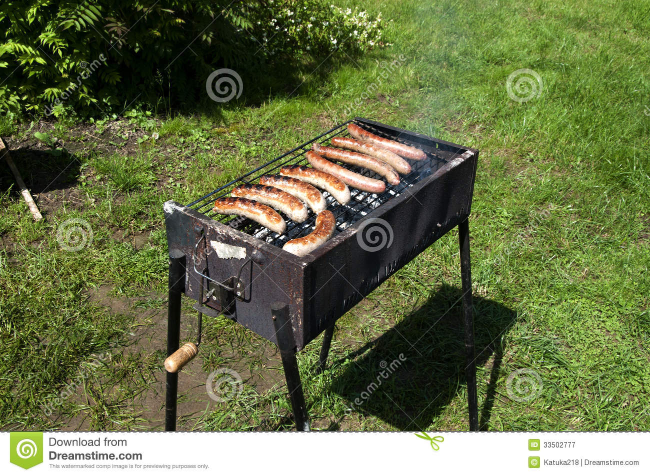 sausage grill in the backyard
