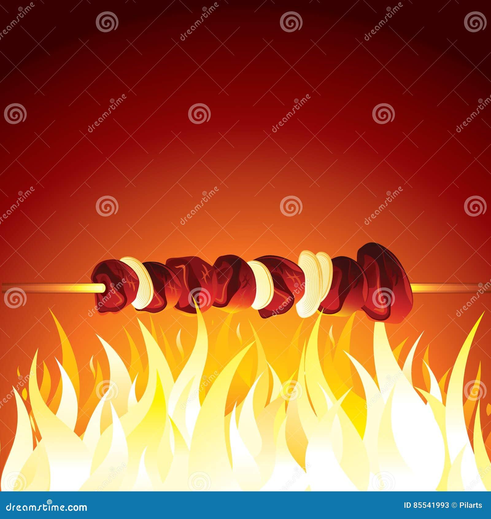 Grill Shish Kebab Przygotowywający na Gorącym płomieniu wektor