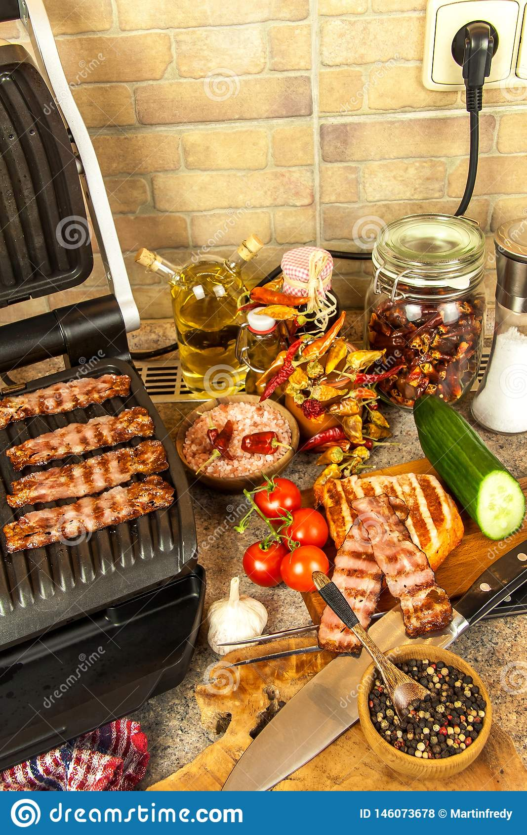 Grill Steak On An Electric Stove Pork Neck Fried On Small Electric Grill Home Cooking Healthy Barbecue Catering To Friends Stock Photo Image Of Heat Chicken 146073678