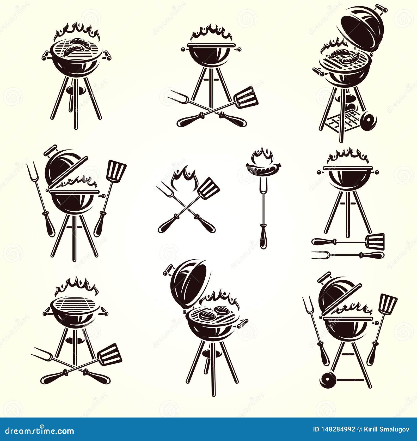 Grill?w elementy i Inkasowy ikona grill wektor