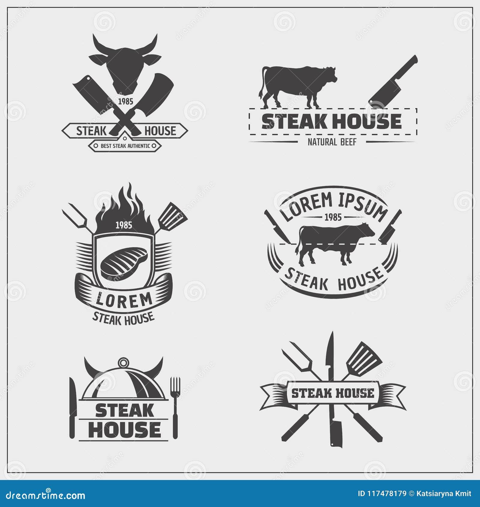 Grilla i grilla logowie etykietki, odznaki i projektów emblematy,