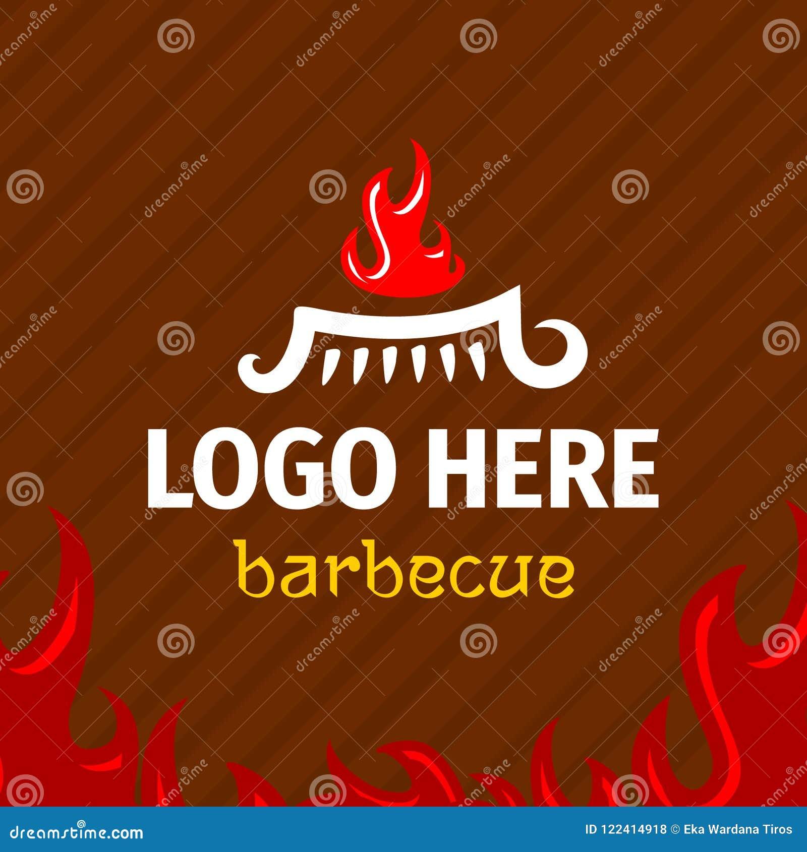 Grilla loga szablon z logogram ogieniem na grillu
