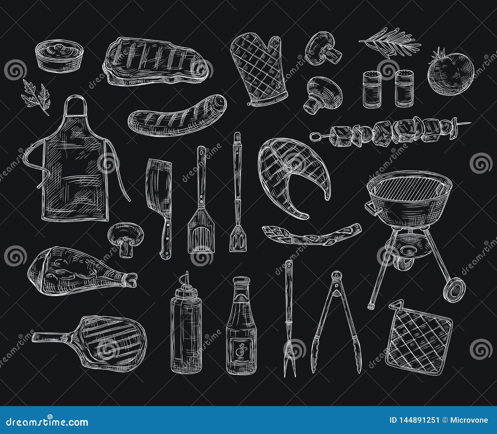 Grilla nakreślenie Bbq wołowiny kebabu kurczaka grilla stku pinkinu przyjęcia grill piec na grillu mięśni warzywa smażący